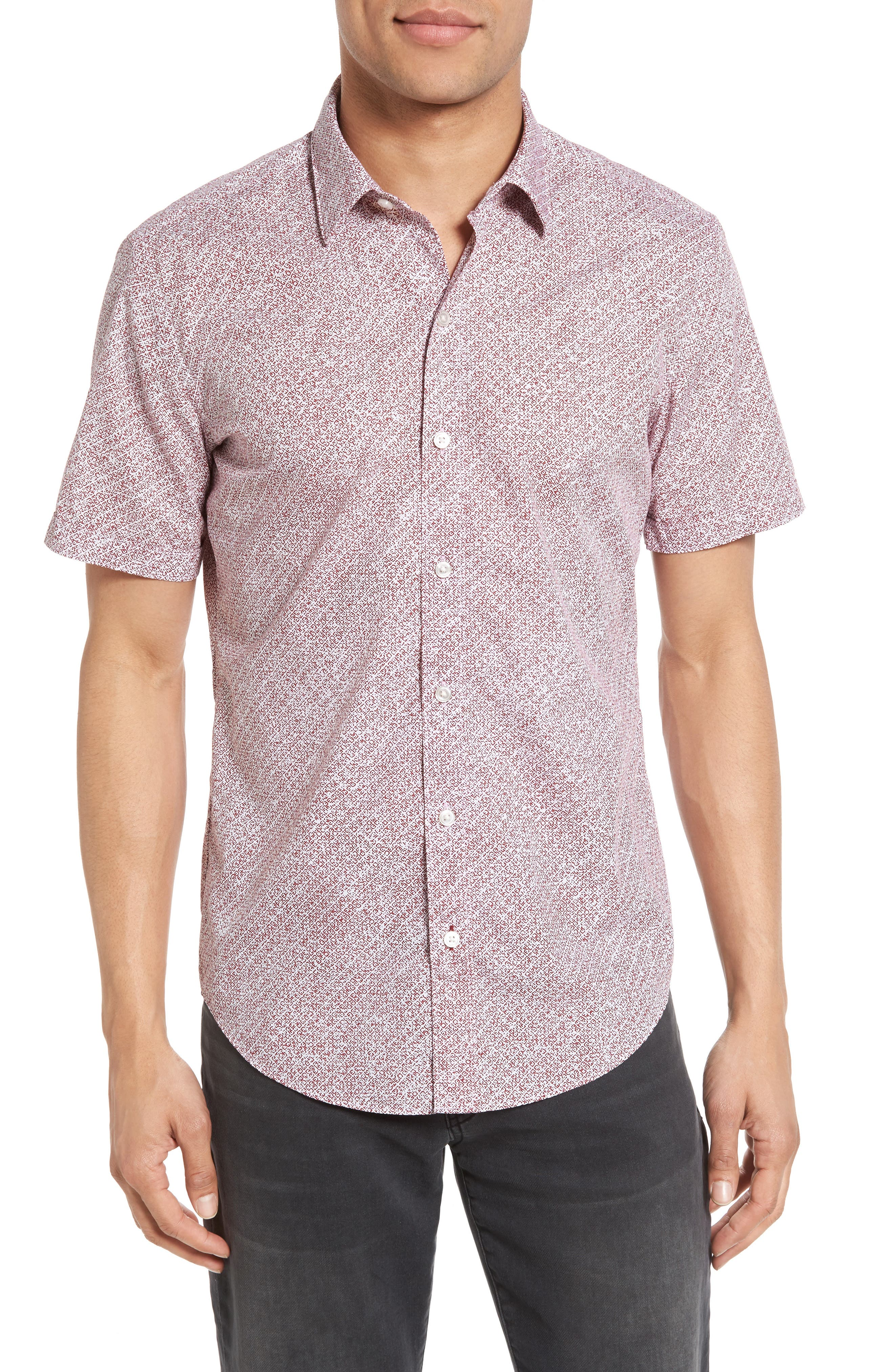 BOSS Robbie Sharp Fit Micro Pattern Sport Shirt