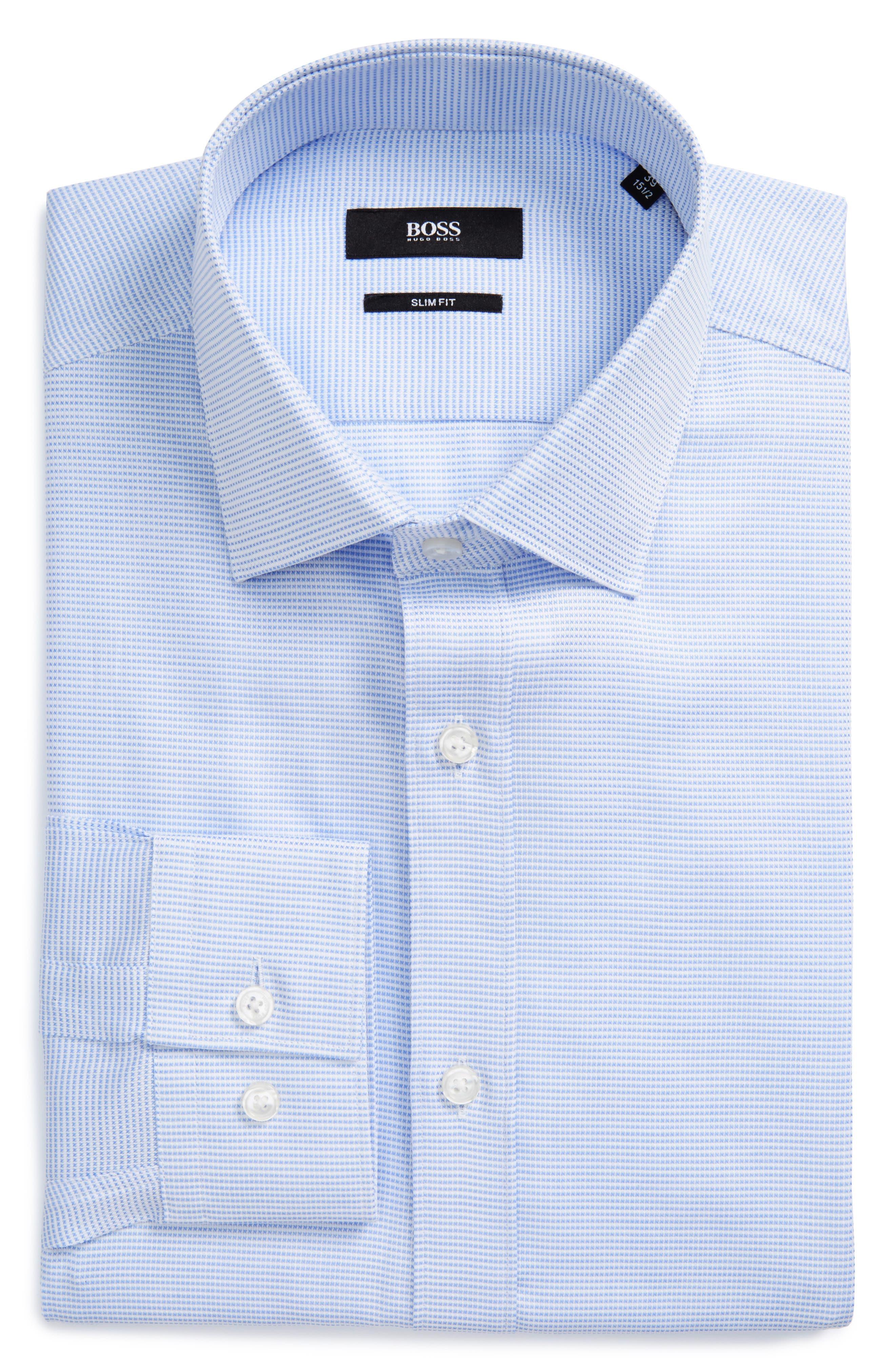 Alternate Image 1 Selected - BOSS Issak Slim Fit Check Dress Shirt