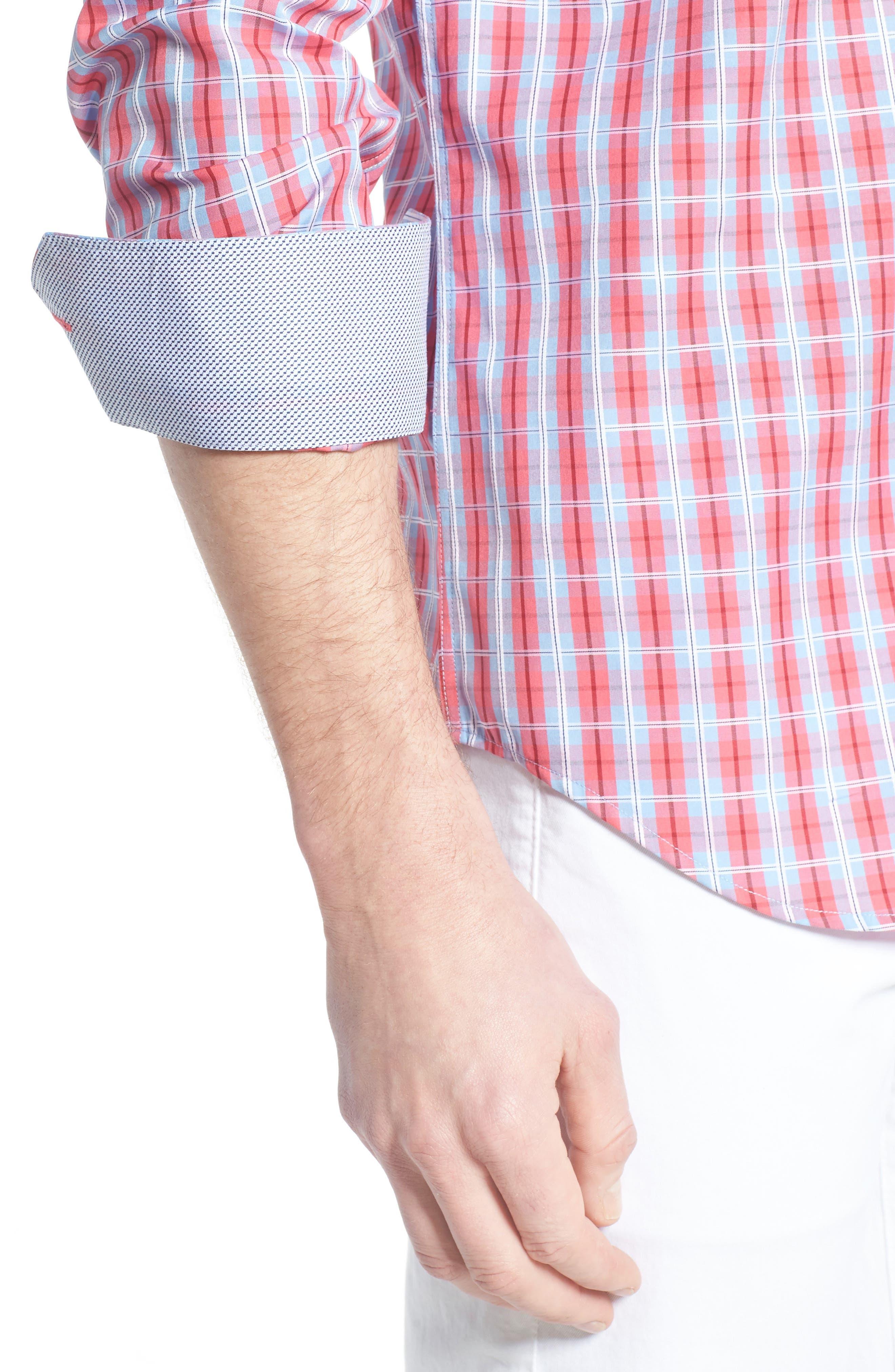 Shaped Fit Plaid Sport Shirt,                             Alternate thumbnail 4, color,                             Fuschia