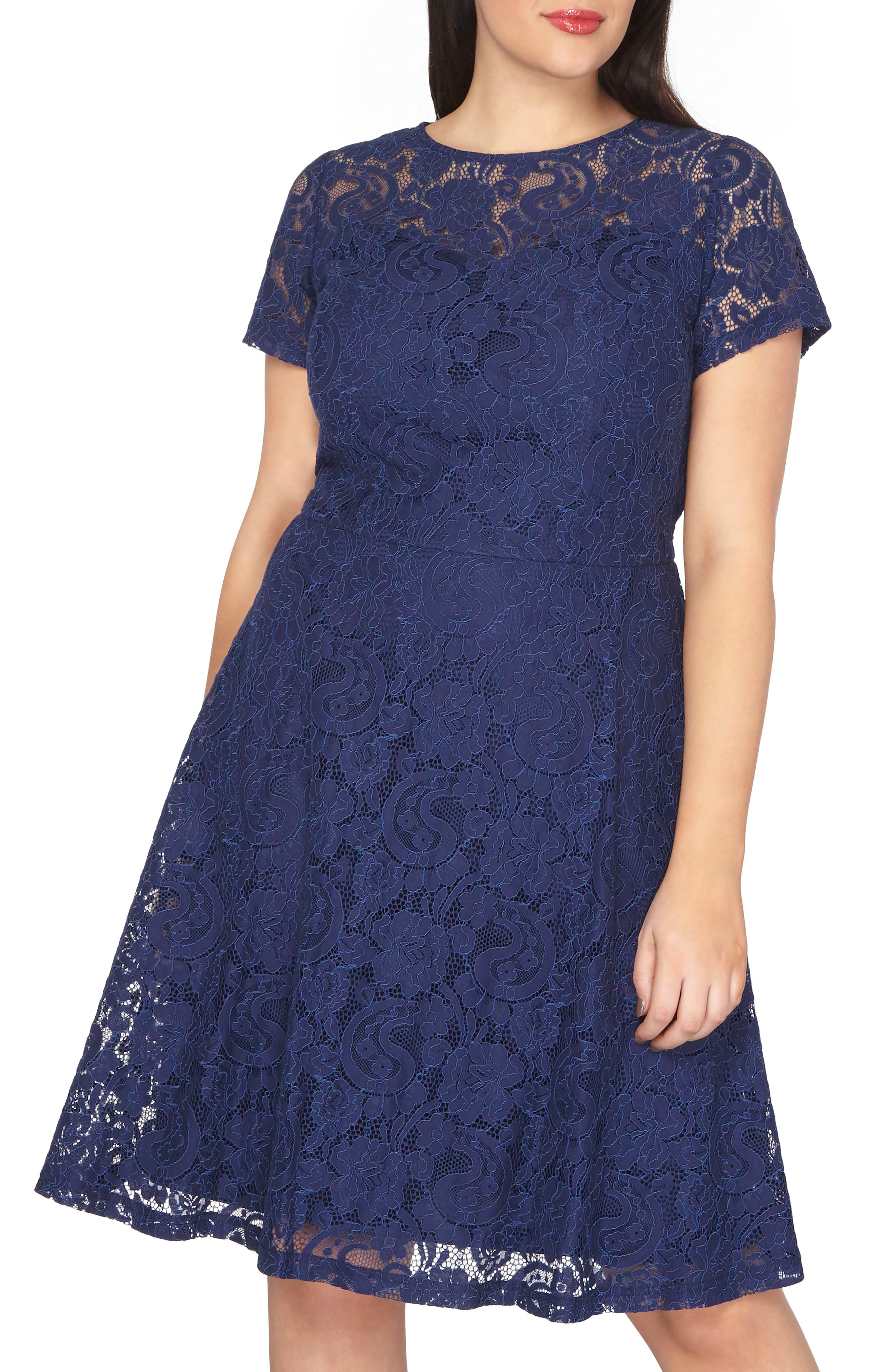 Lace Fit & Flare Dress,                         Main,                         color, Blue