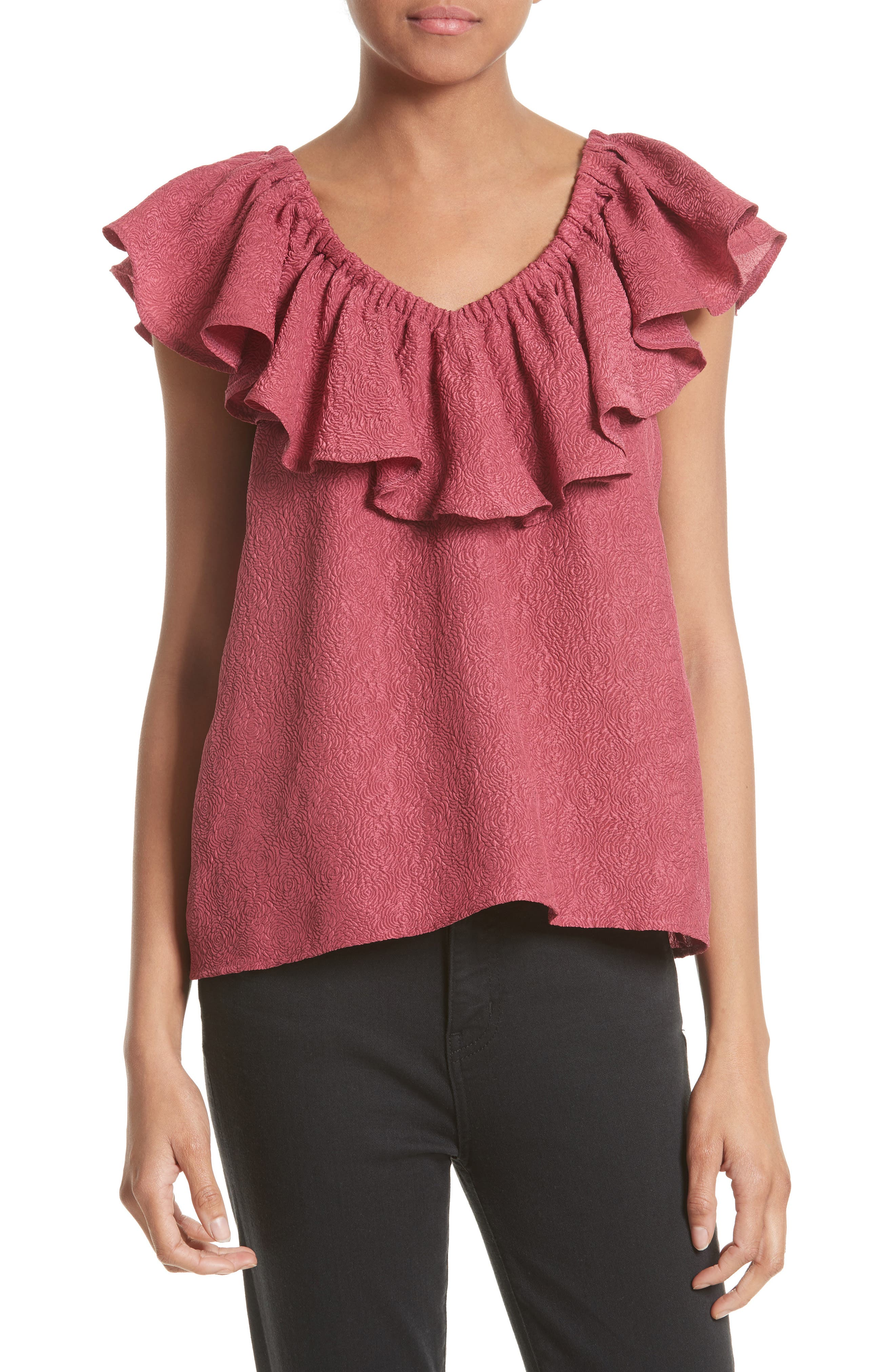 Off the Shoulder Silk Blend Top,                             Main thumbnail 1, color,                             Bloom
