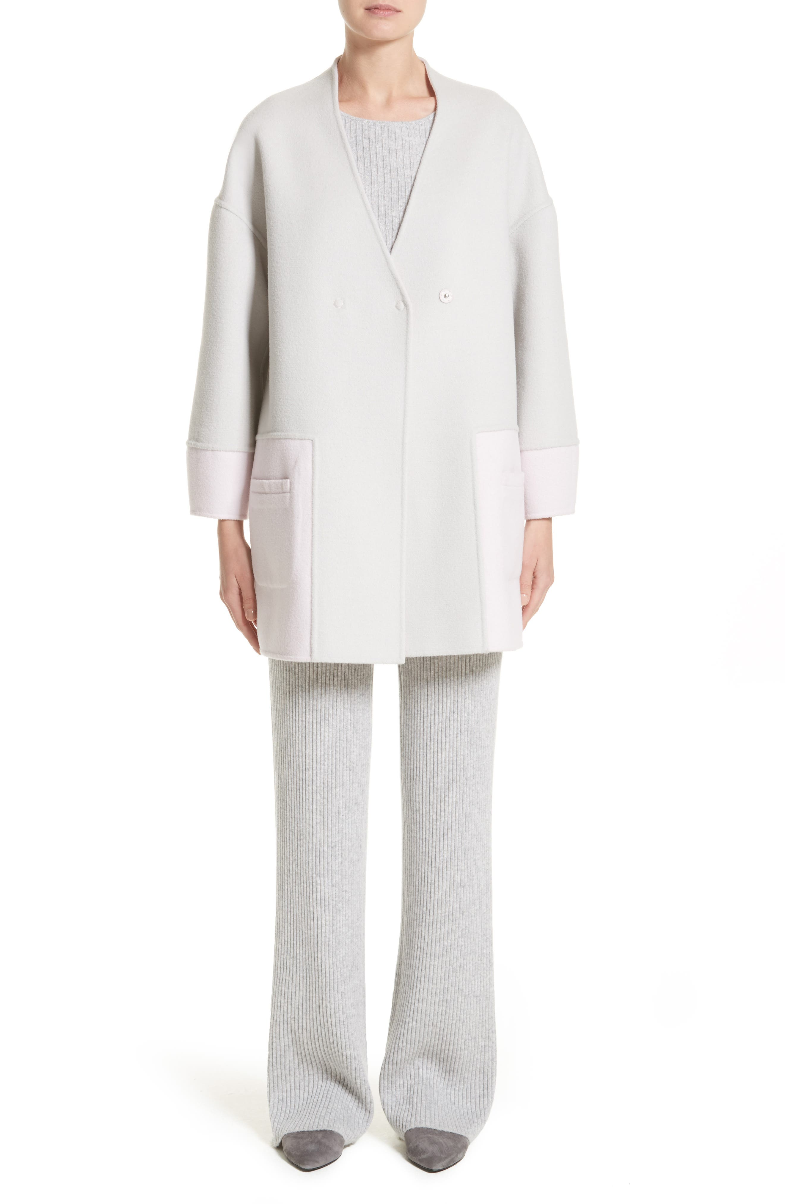 Reversible Wool Blend Cocoon Coat,                             Alternate thumbnail 9, color,                             Petal/ Light Grey Melange