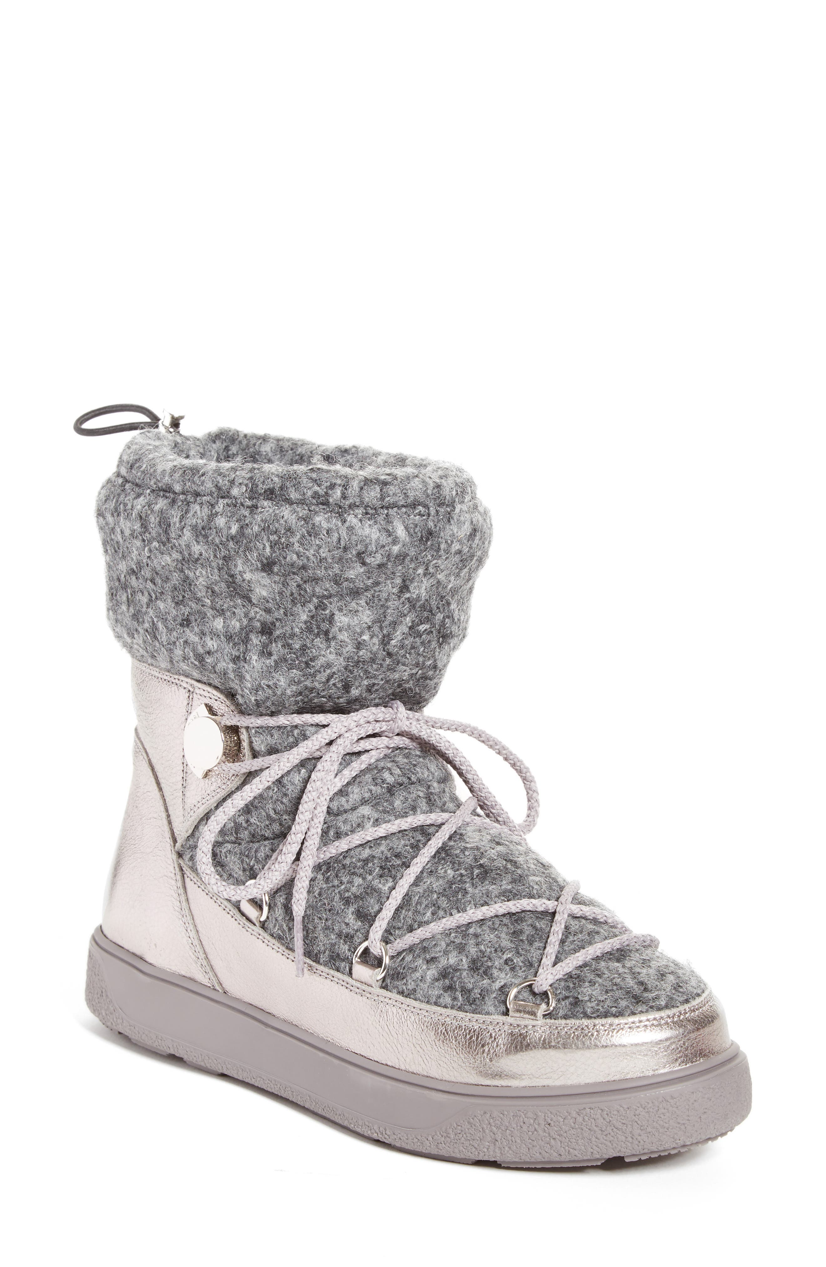 Ynnaf Boiled Wool Lined Snow Boot,                             Main thumbnail 1, color,                             Silver