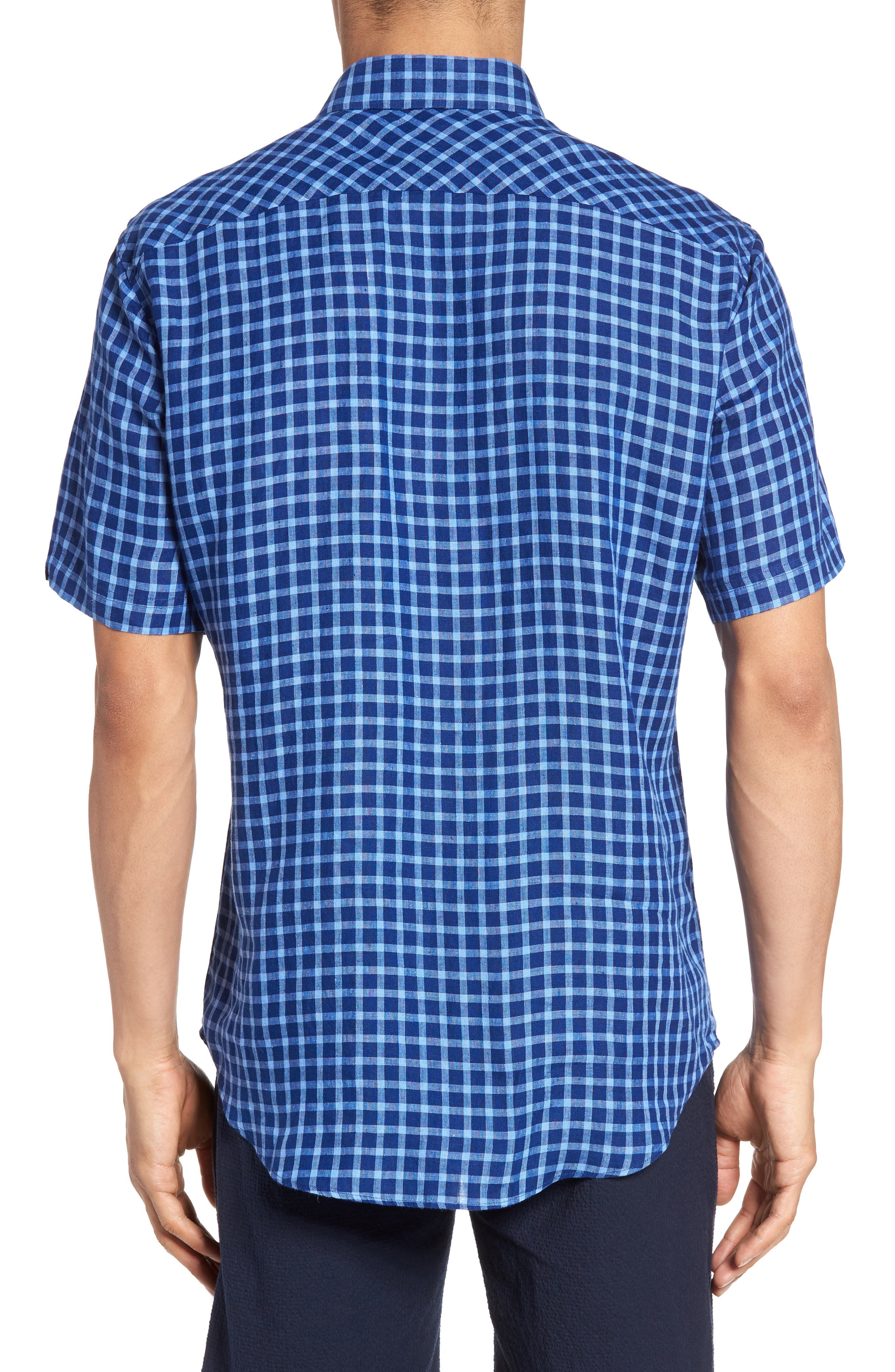 Ray Plaid Linen Sport Shirt,                             Alternate thumbnail 2, color,                             Pacific