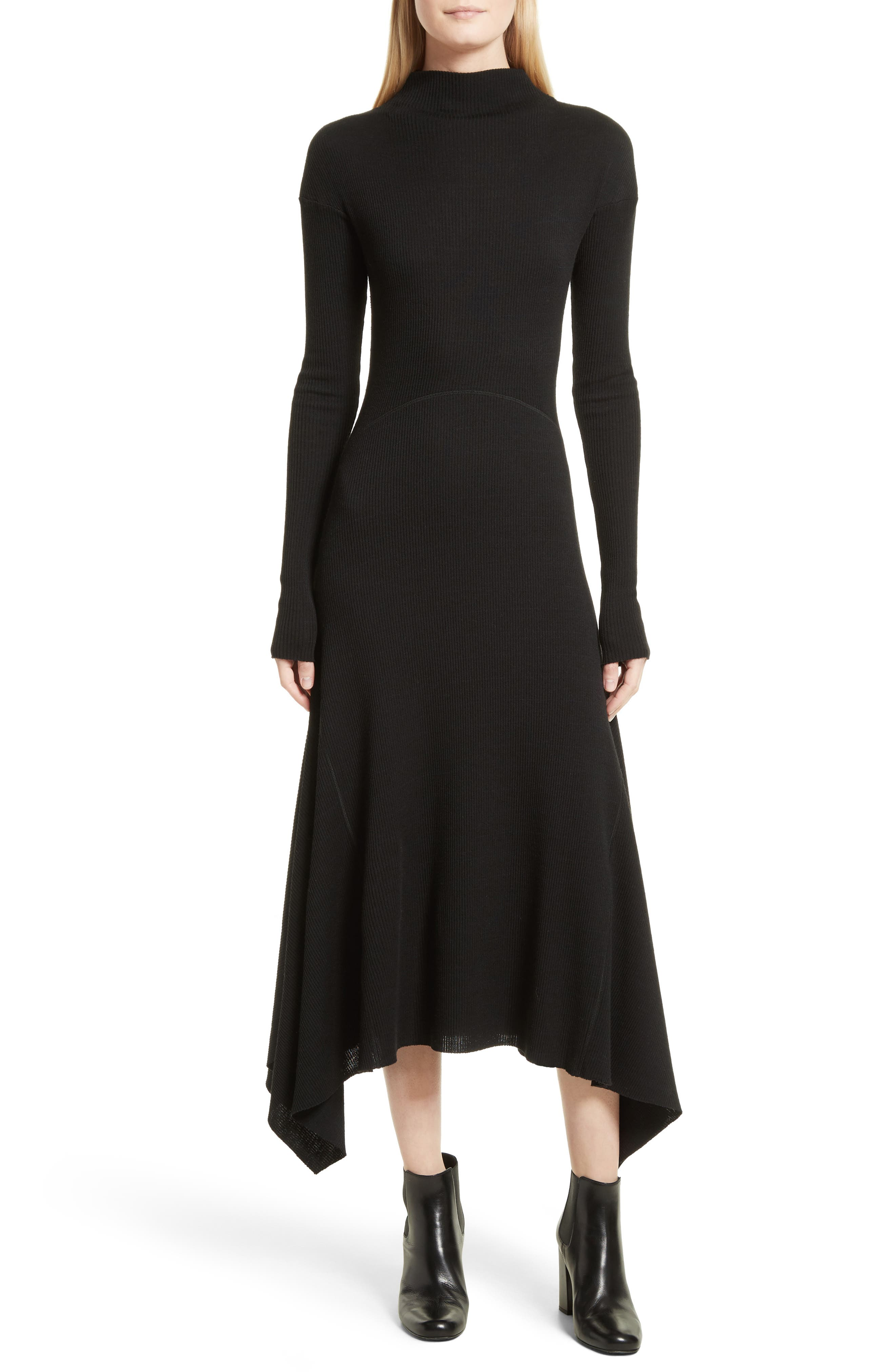 Ribbed Sweater Dress,                             Main thumbnail 1, color,                             Black