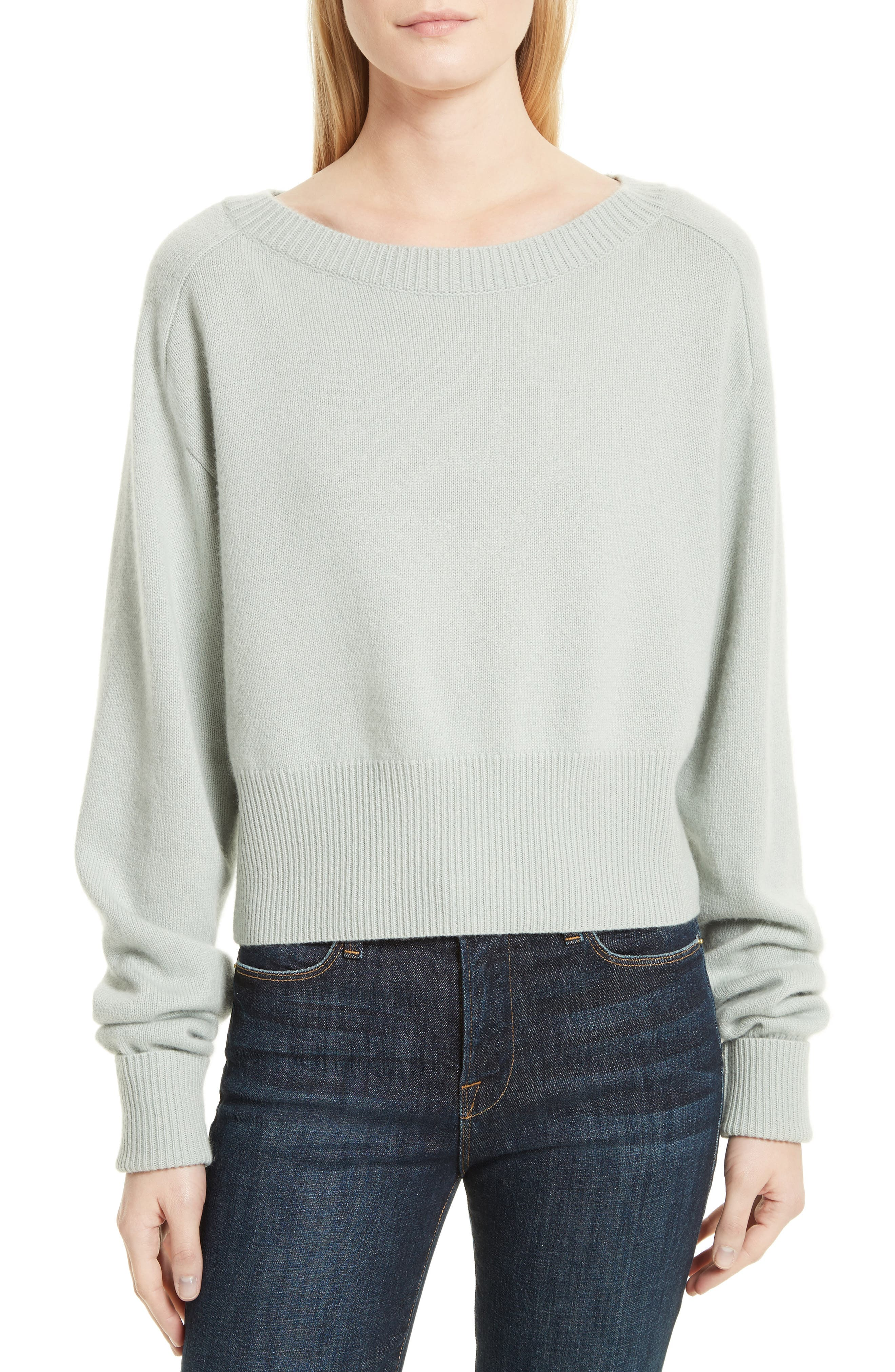 Boat Neck Cashmere Sweater,                         Main,                         color, Light Winter Green