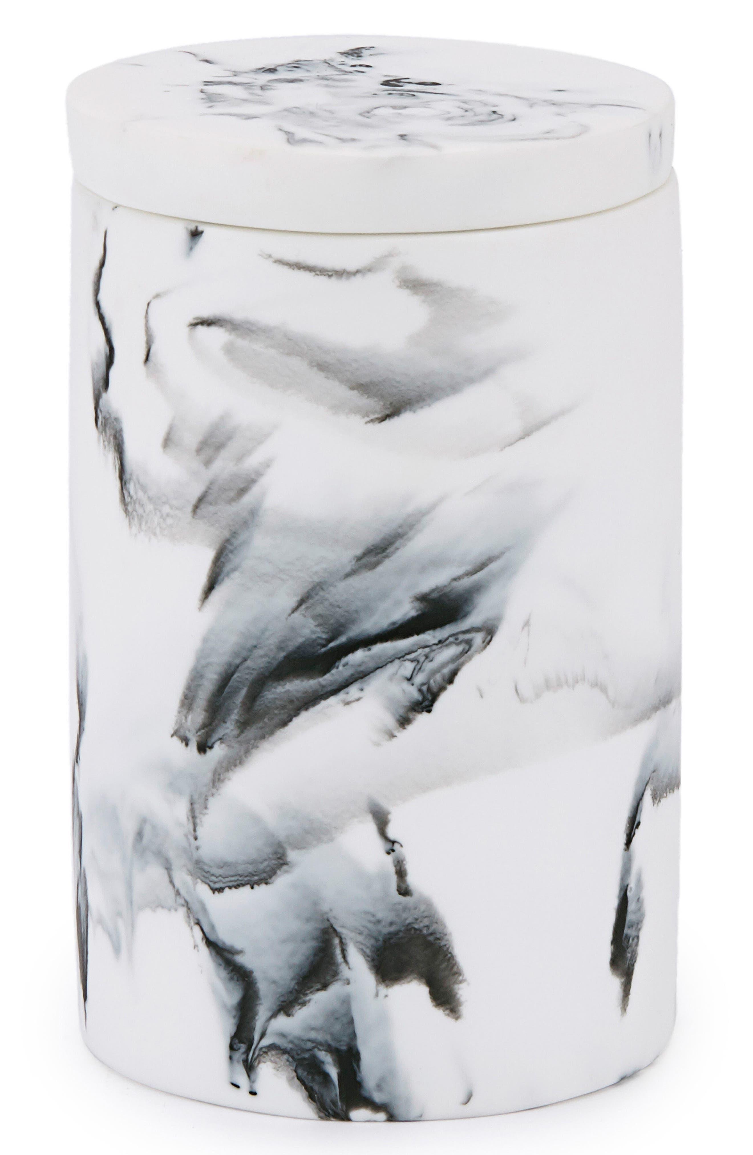 Arabesco Resin Cotton Jar,                         Main,                         color, White/ Black