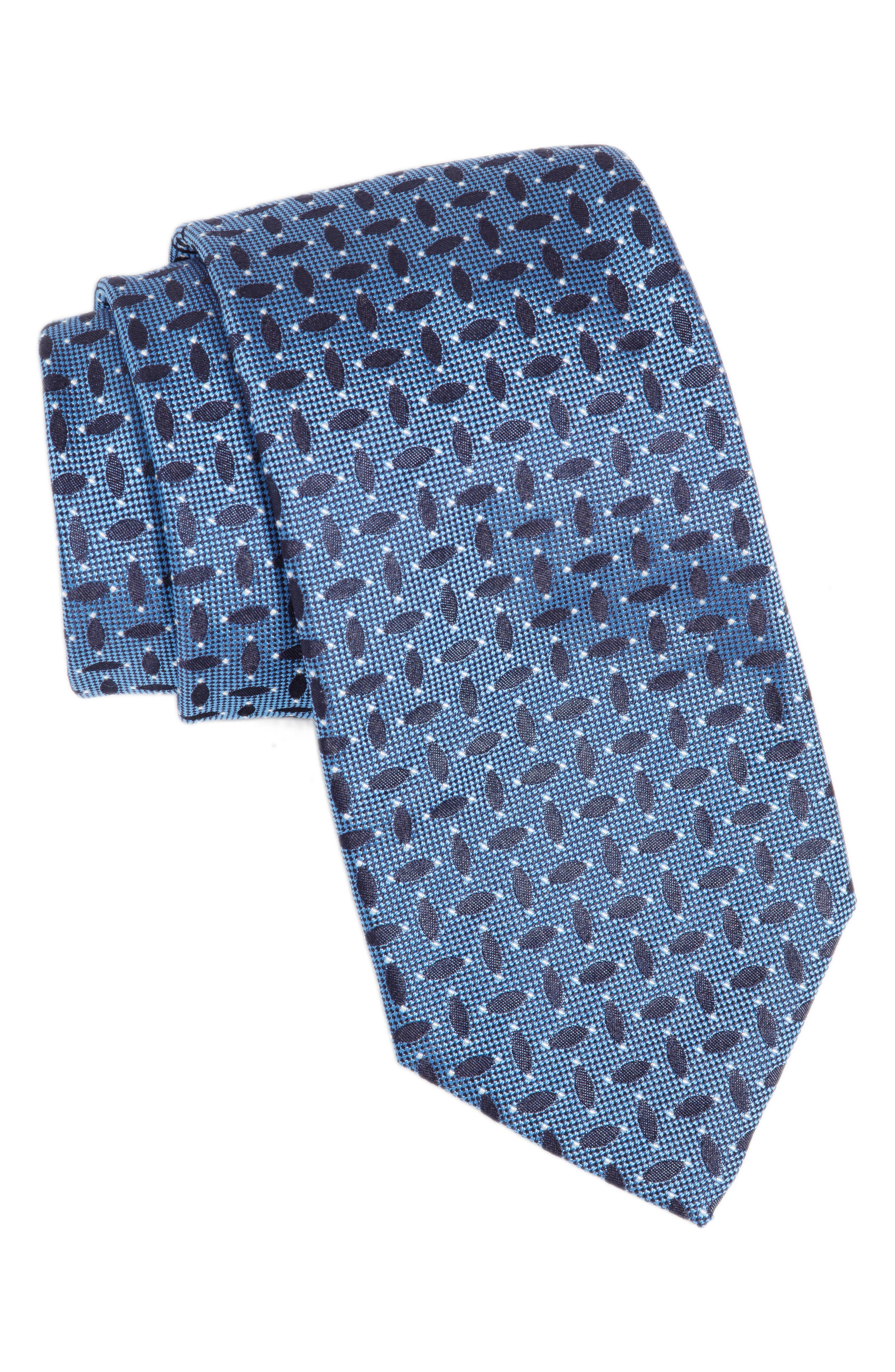 Geometric Silk Tie,                         Main,                         color, Turquoise/ Aqua