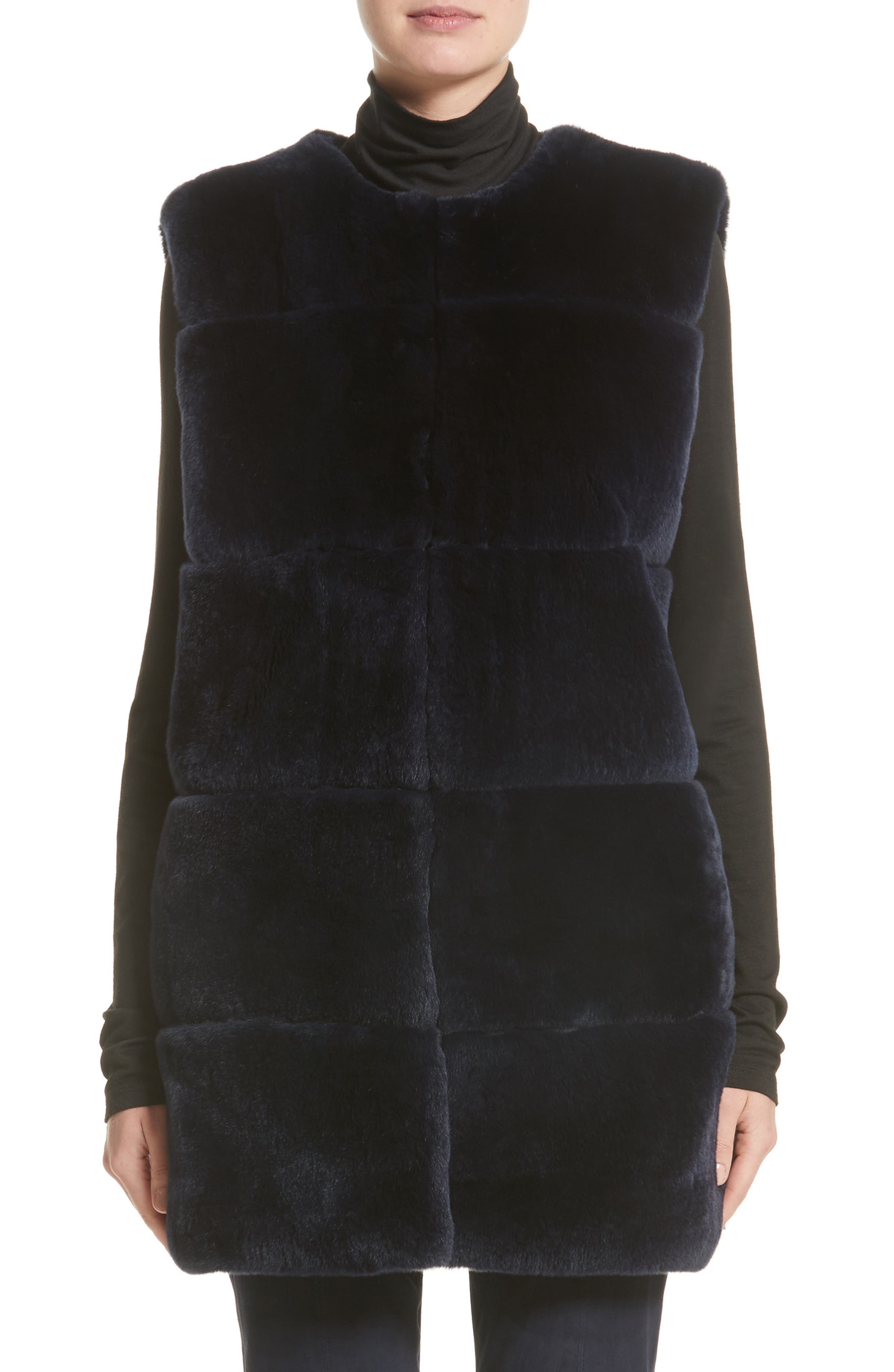 St. John Collection Leather Trim Genuine Rex Rabbit Fur Vest
