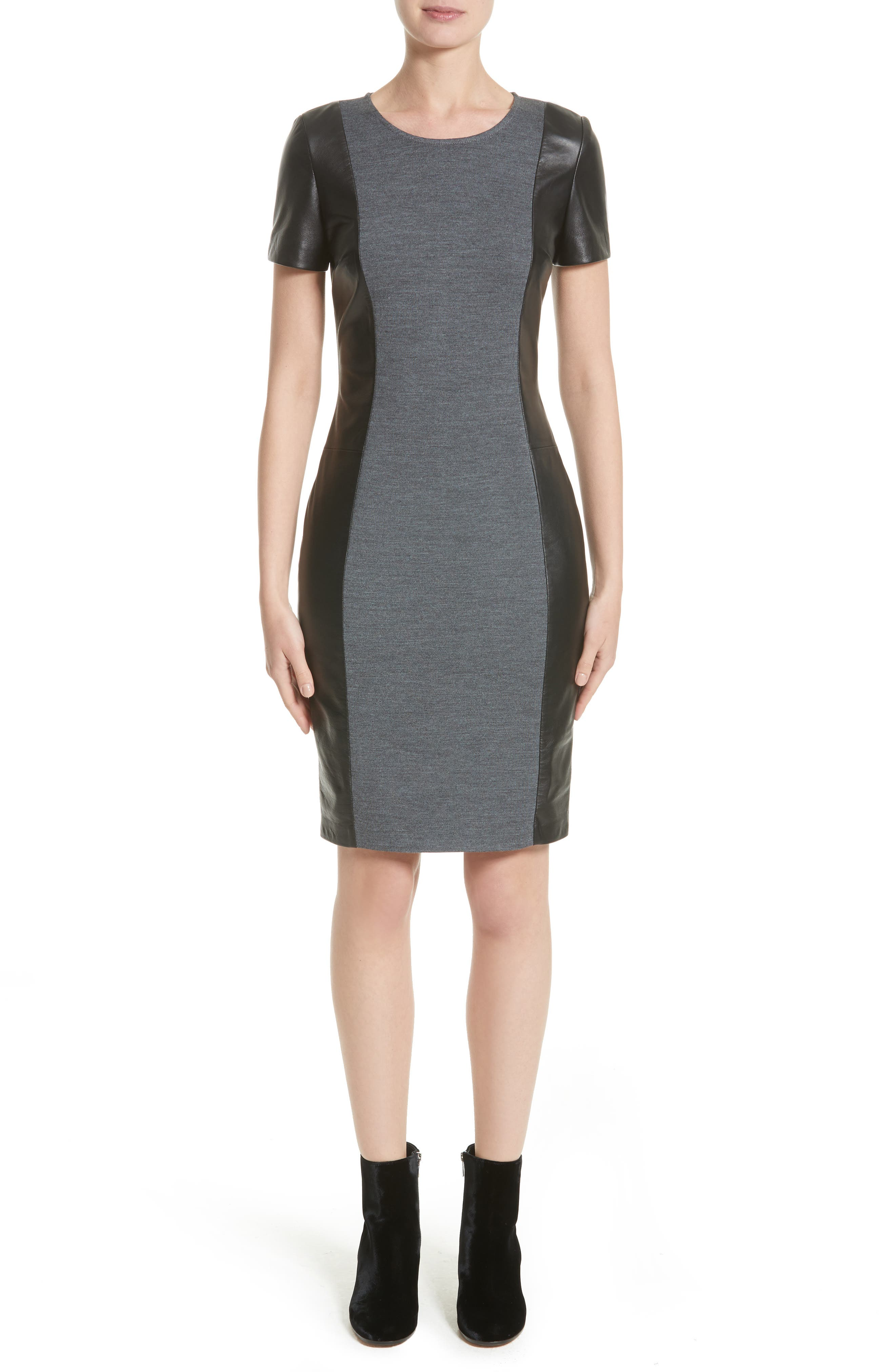 St. John Collection Leather Trim Milano Knit Dress