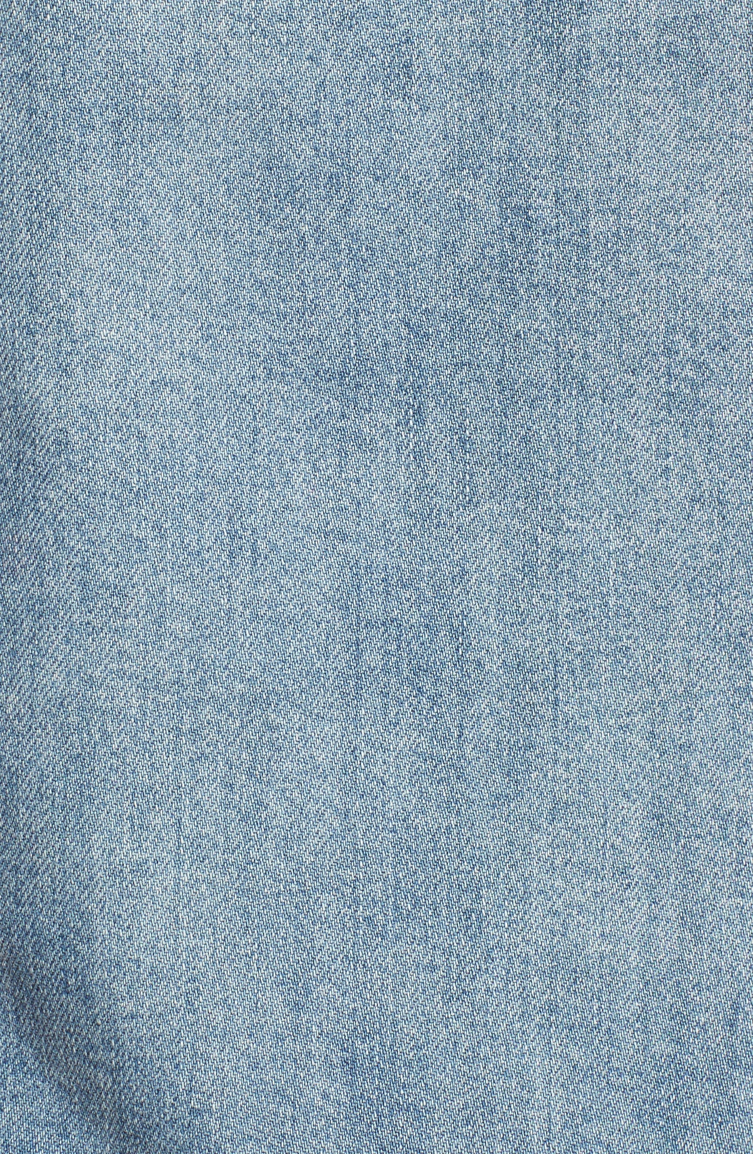 Ruffle Denim Jacket,                             Alternate thumbnail 5, color,                             Austin Wash