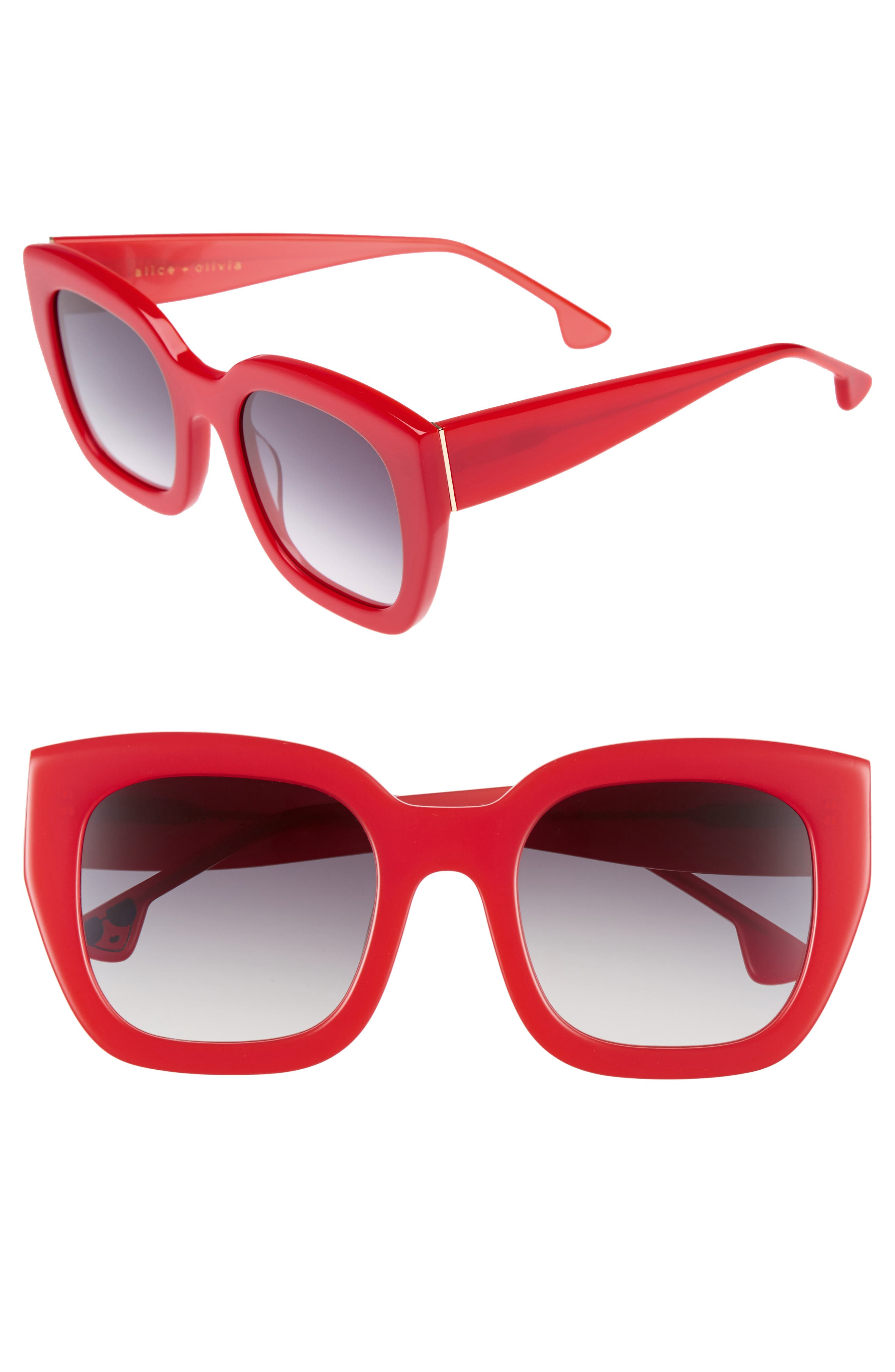 Aberdeen 50mm Square Sunglasses,                             Main thumbnail 1, color,                             Poppy