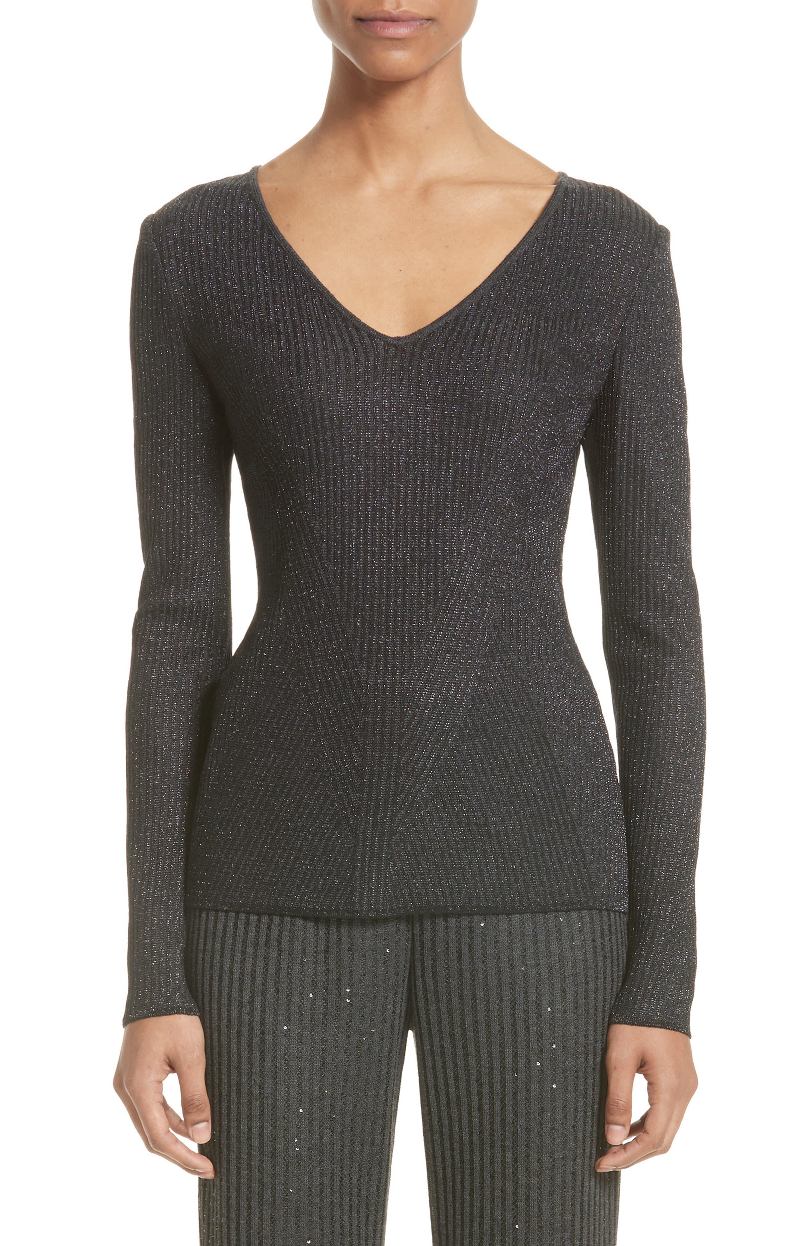 Engineered Rib Sparkle Knit Sweater,                         Main,                         color, Hematite Melange