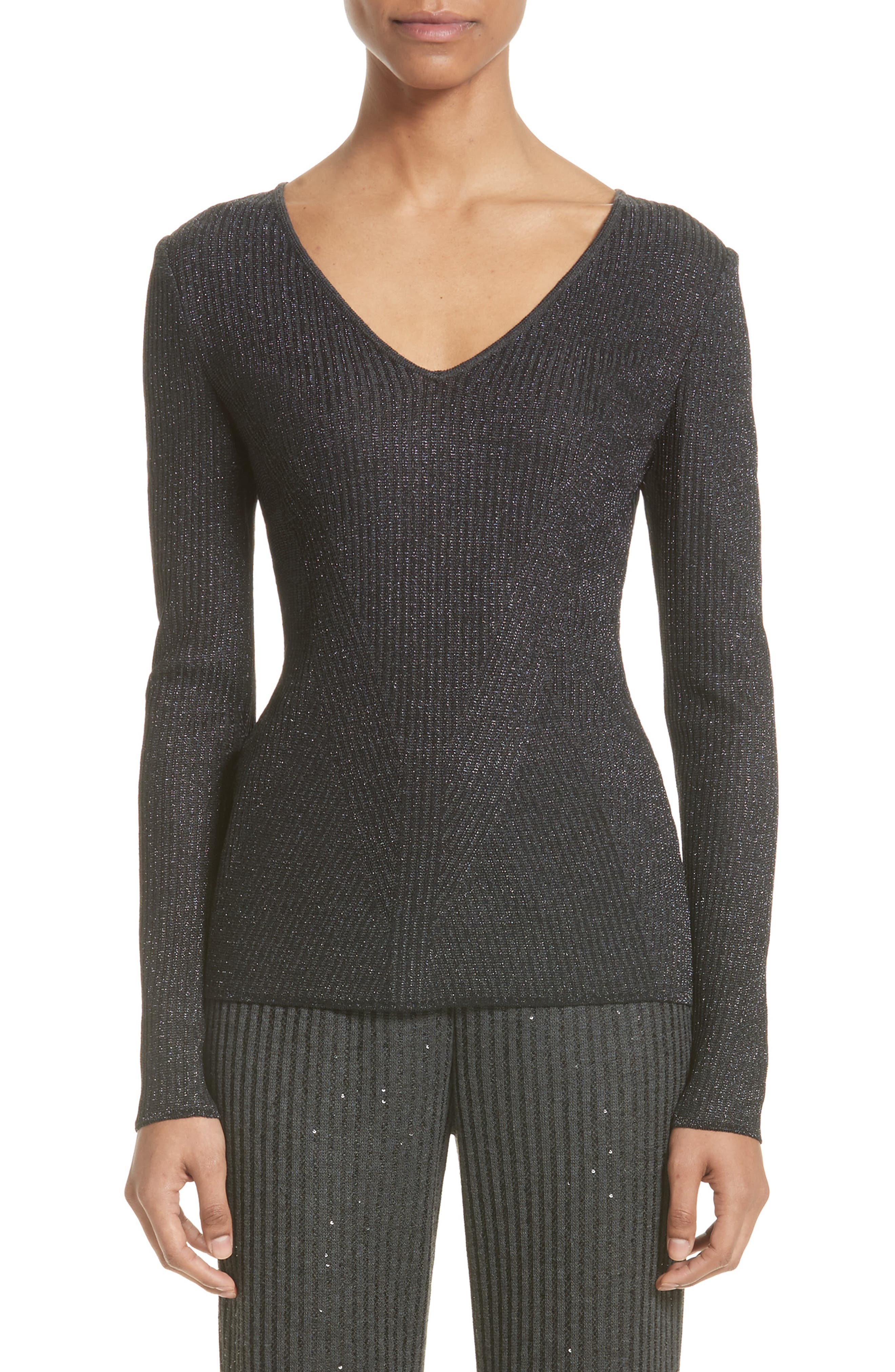 St. John Collection Engineered Rib Sparkle Knit Sweater