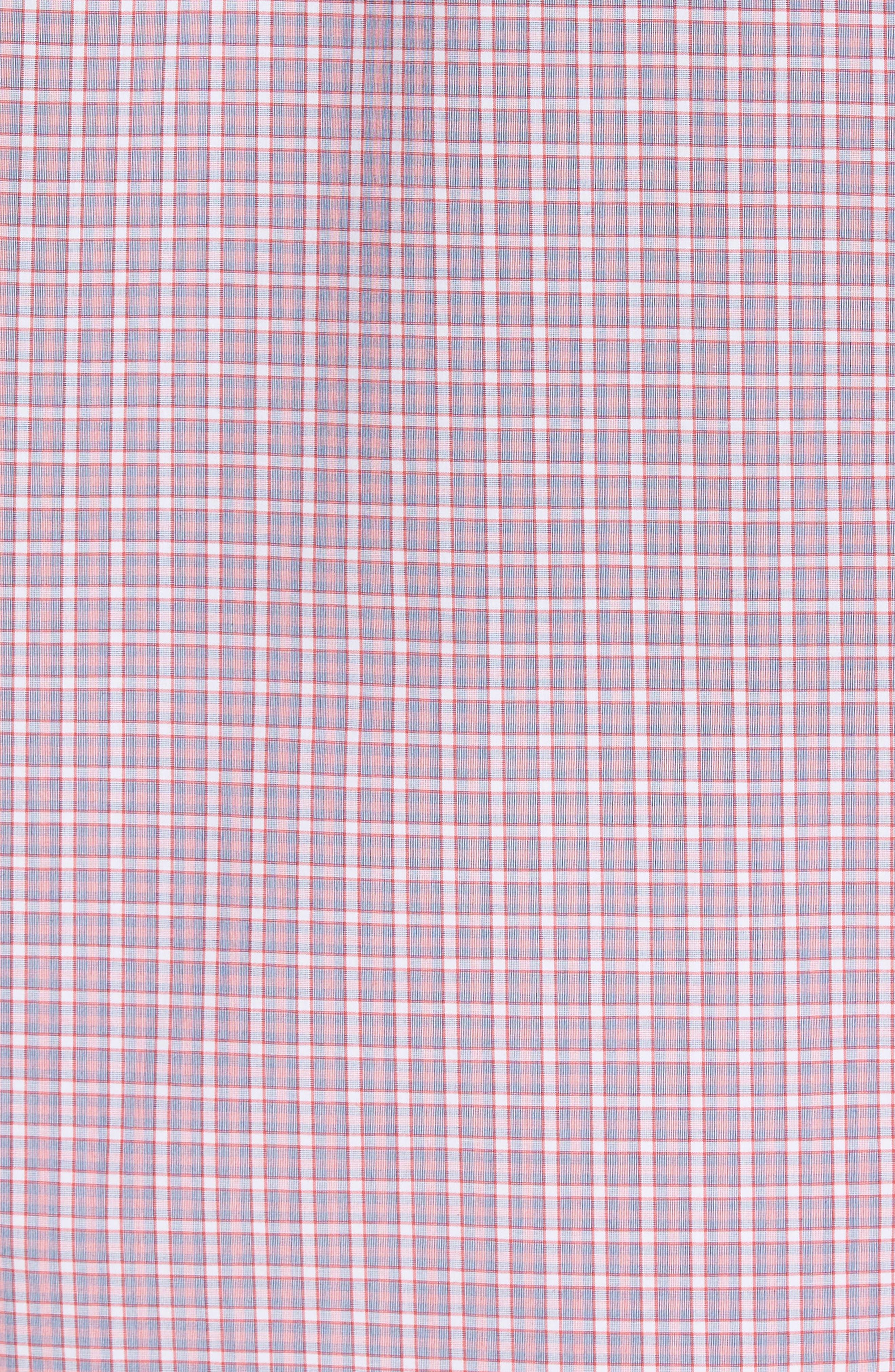 Balestier Trim Fit Plaid Sport Shirt,                             Alternate thumbnail 5, color,                             Pink