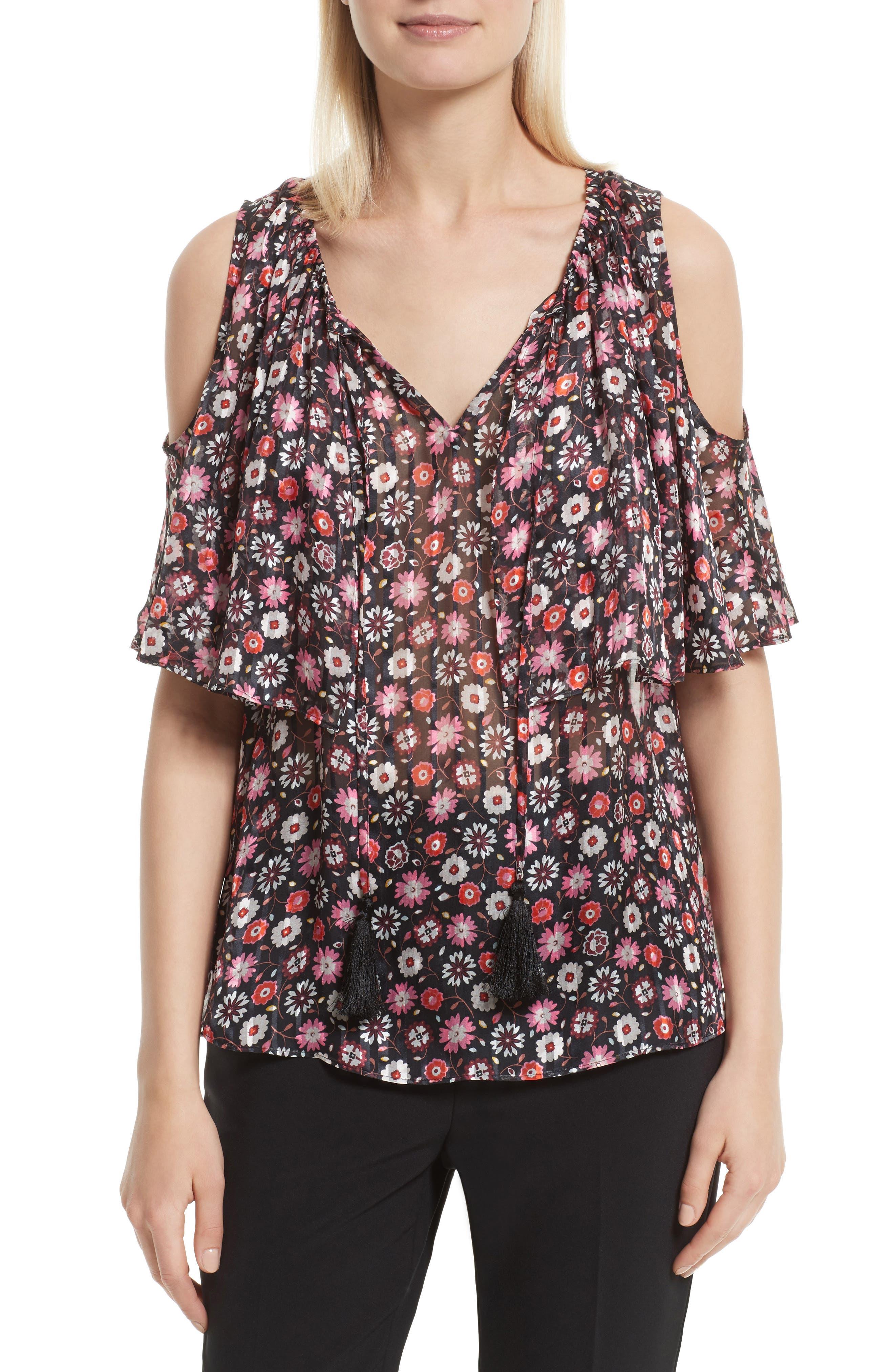mini casa flora cold shoulder blouse,                         Main,                         color, Black