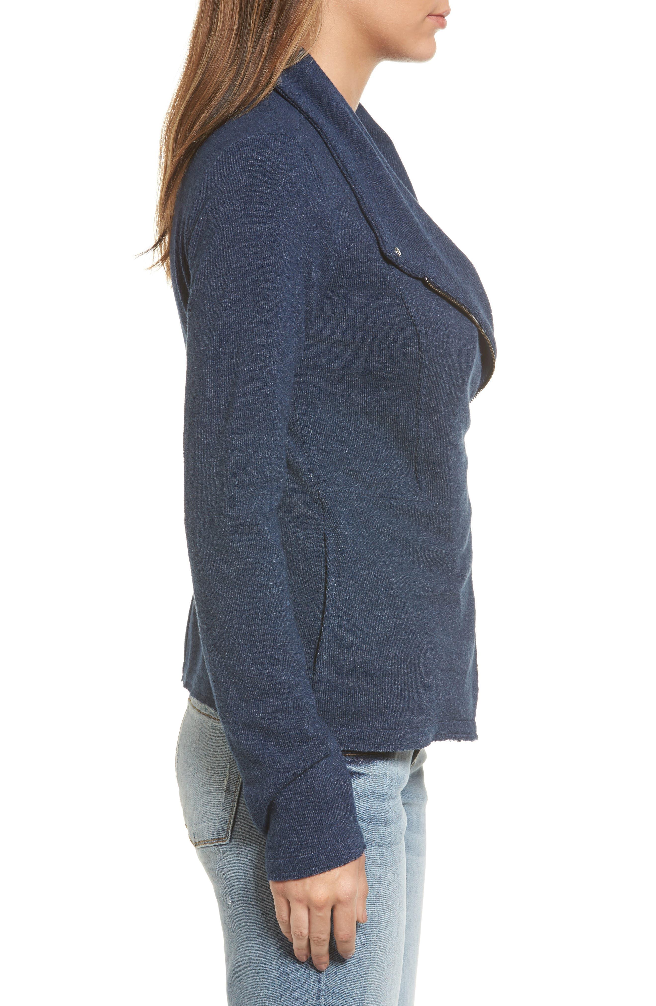 Alternate Image 3  - Caslon® Knit Moto Jacket (Regular & Petite)