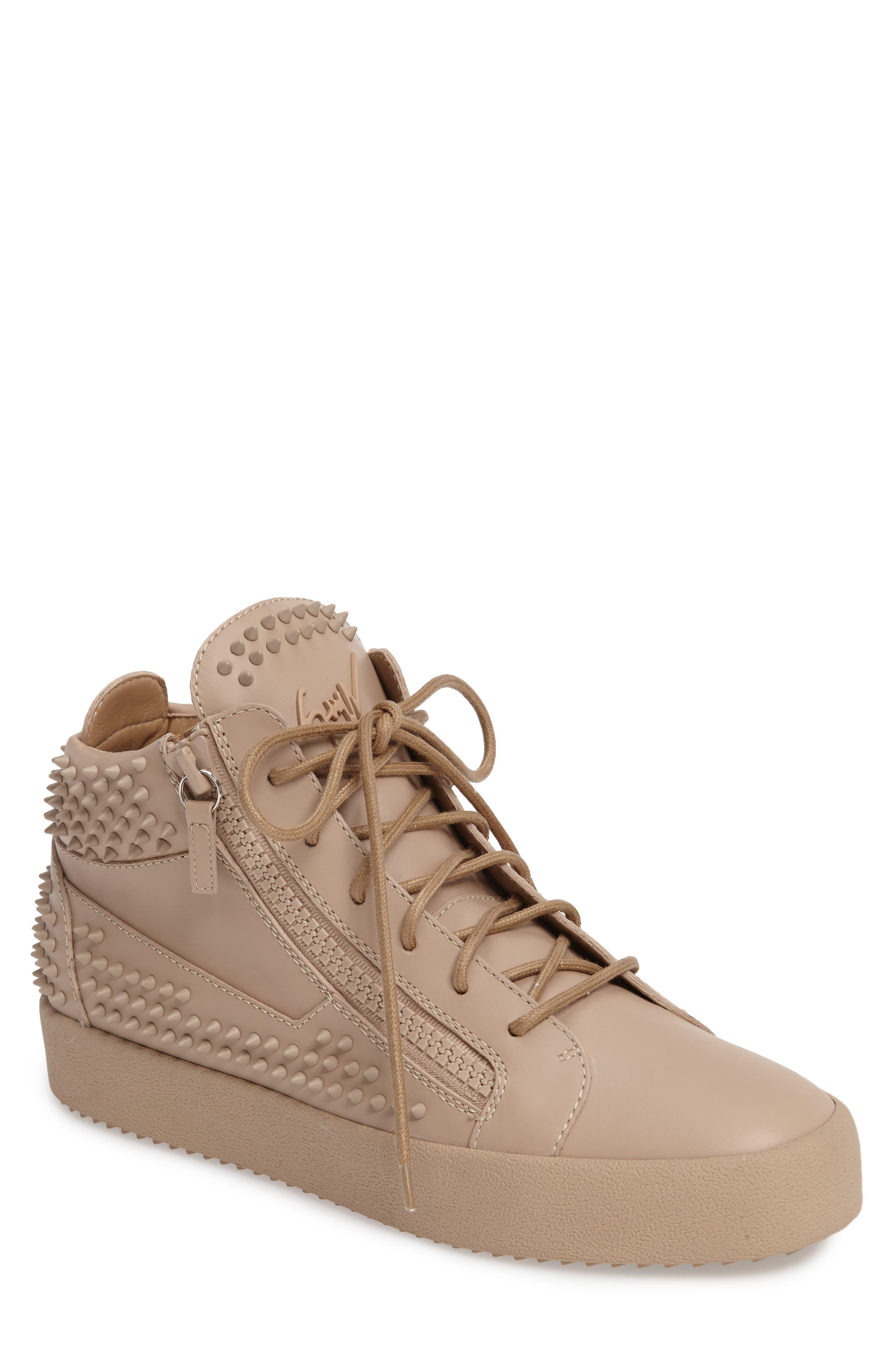 Studded Mid Top Sneaker,                         Main,                         color, Tan/ Birel Sughero