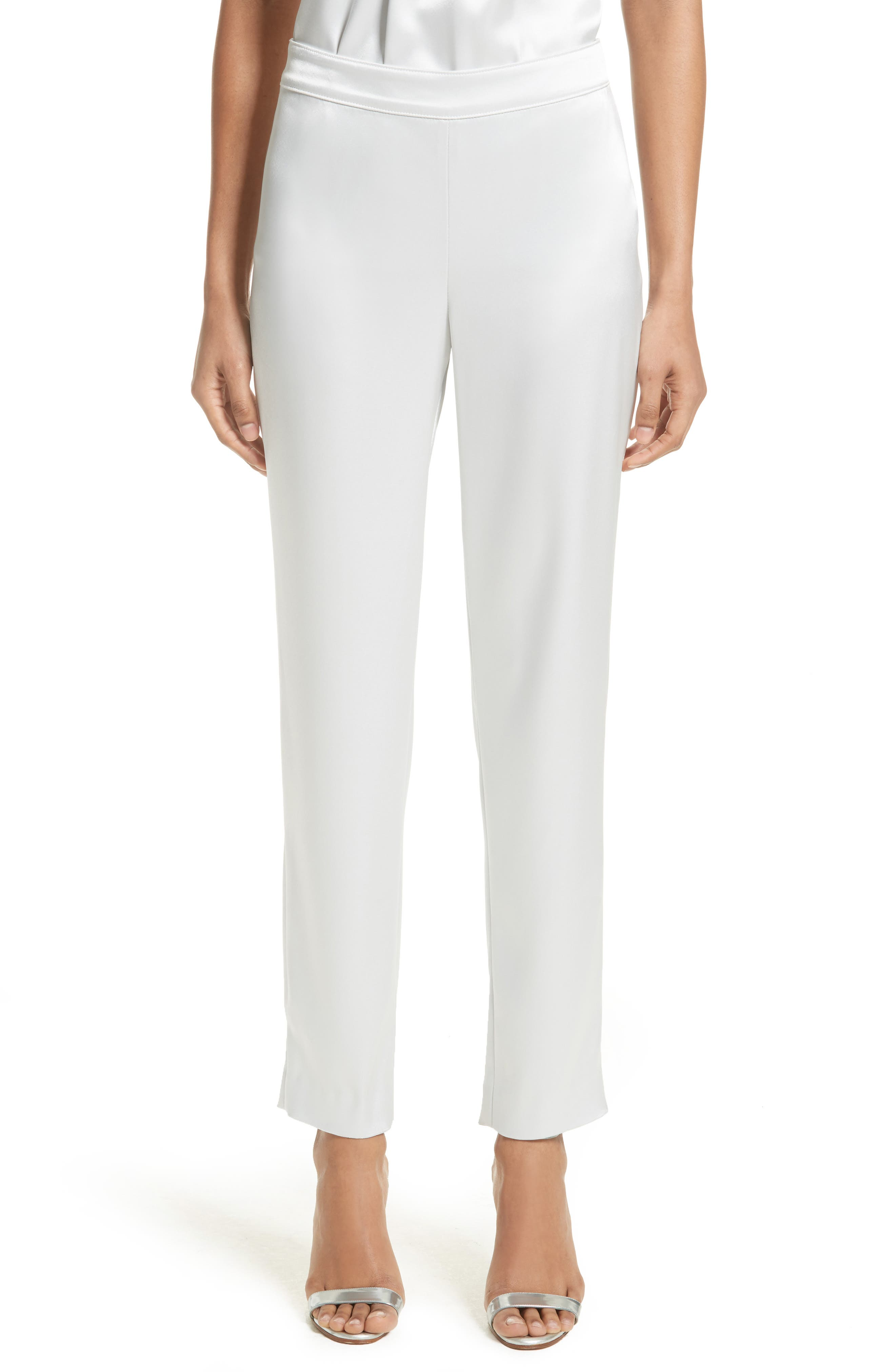 Emma Liquid Satin Crop Pants,                         Main,                         color, Ice