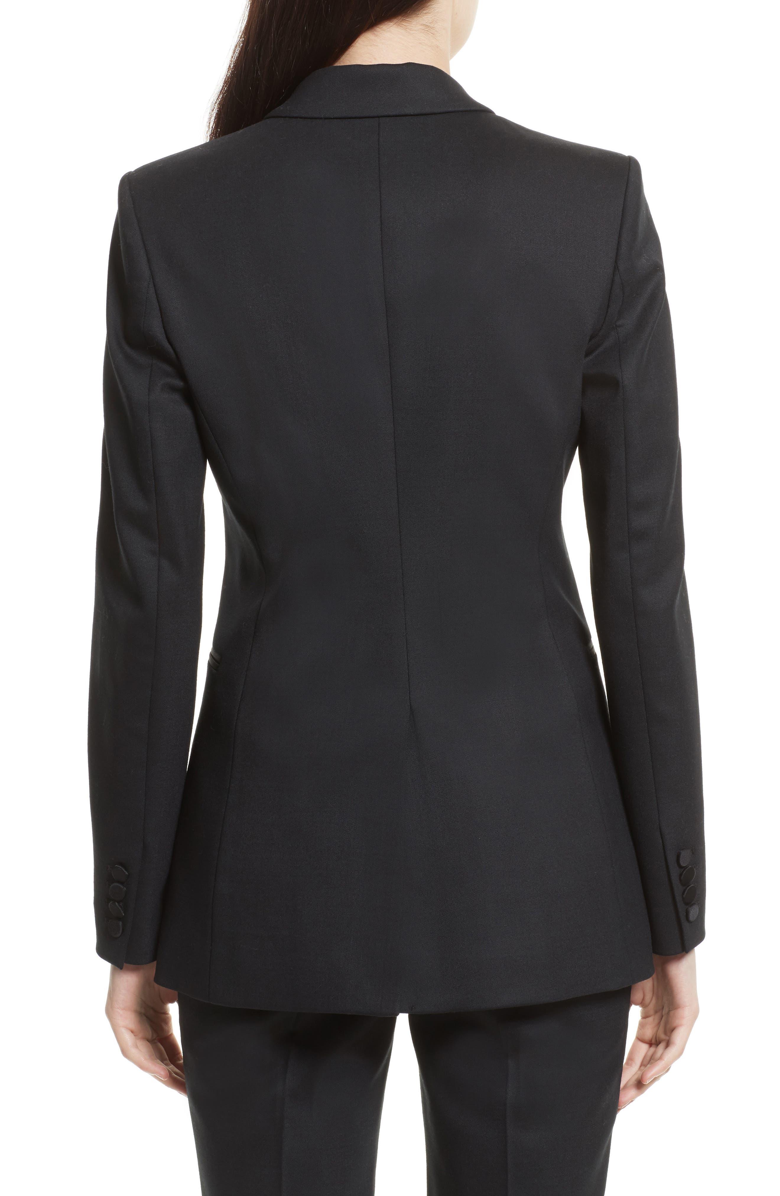 Wool Blend Tuxedo Jacket,                             Alternate thumbnail 2, color,                             Black