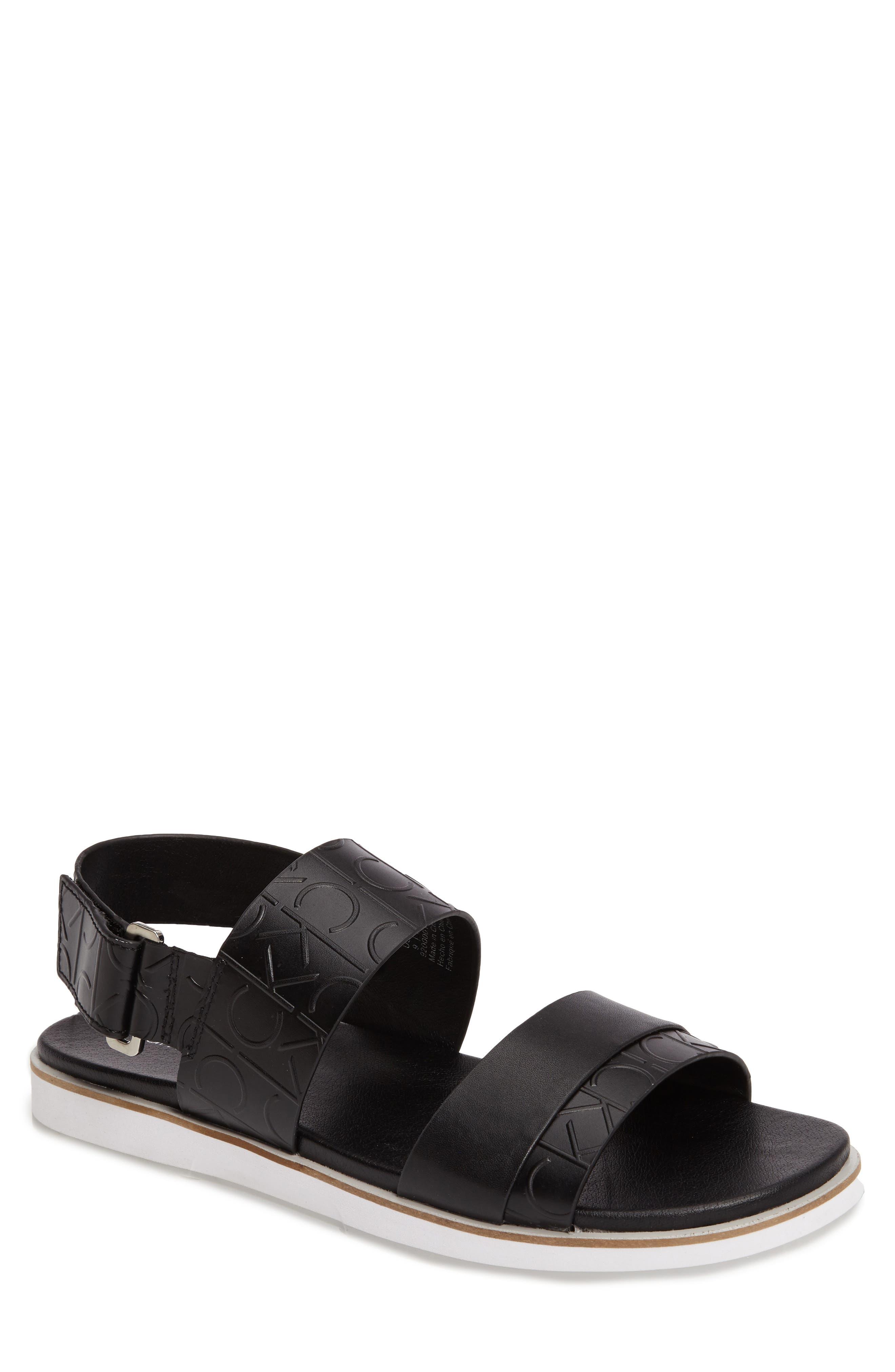 'Dex' Embossed Leather Sandal,                             Main thumbnail 1, color,                             Black/Black
