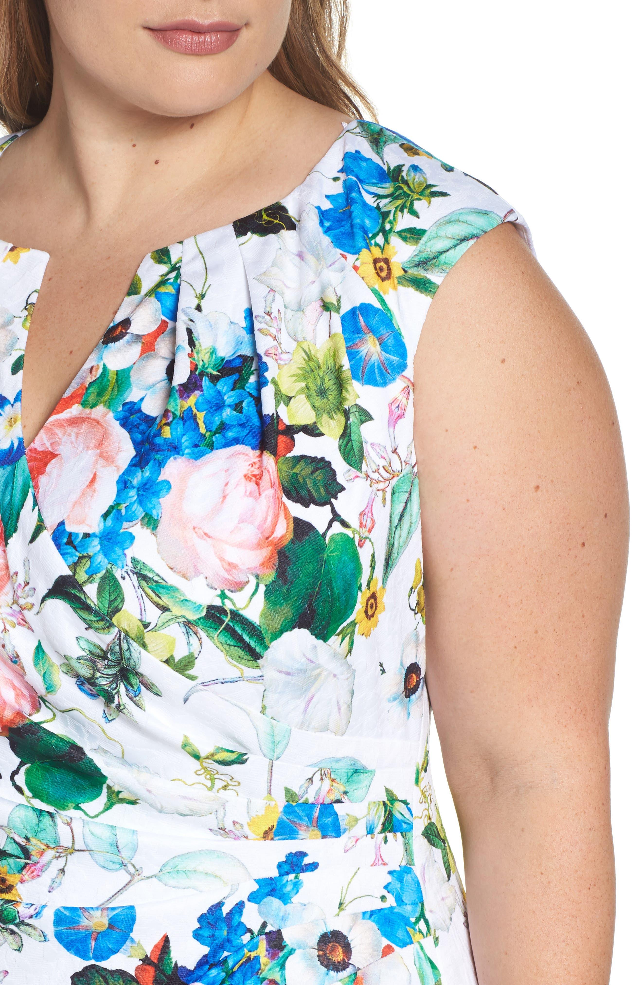 Side Pleat Floral Sheath Dress,                             Alternate thumbnail 4, color,                             Ivory Multi