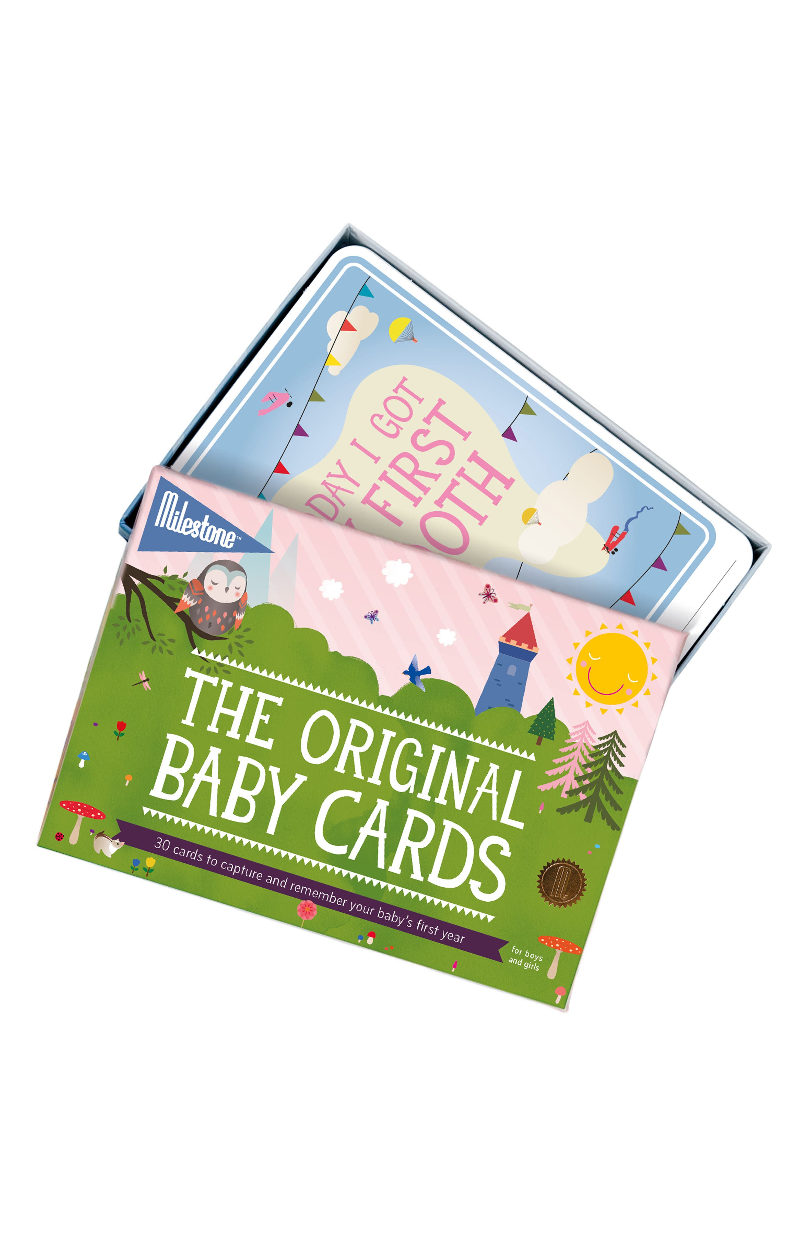 Milestone Set of 30 Original Baby Photo Cards,                         Main,                         color, Green