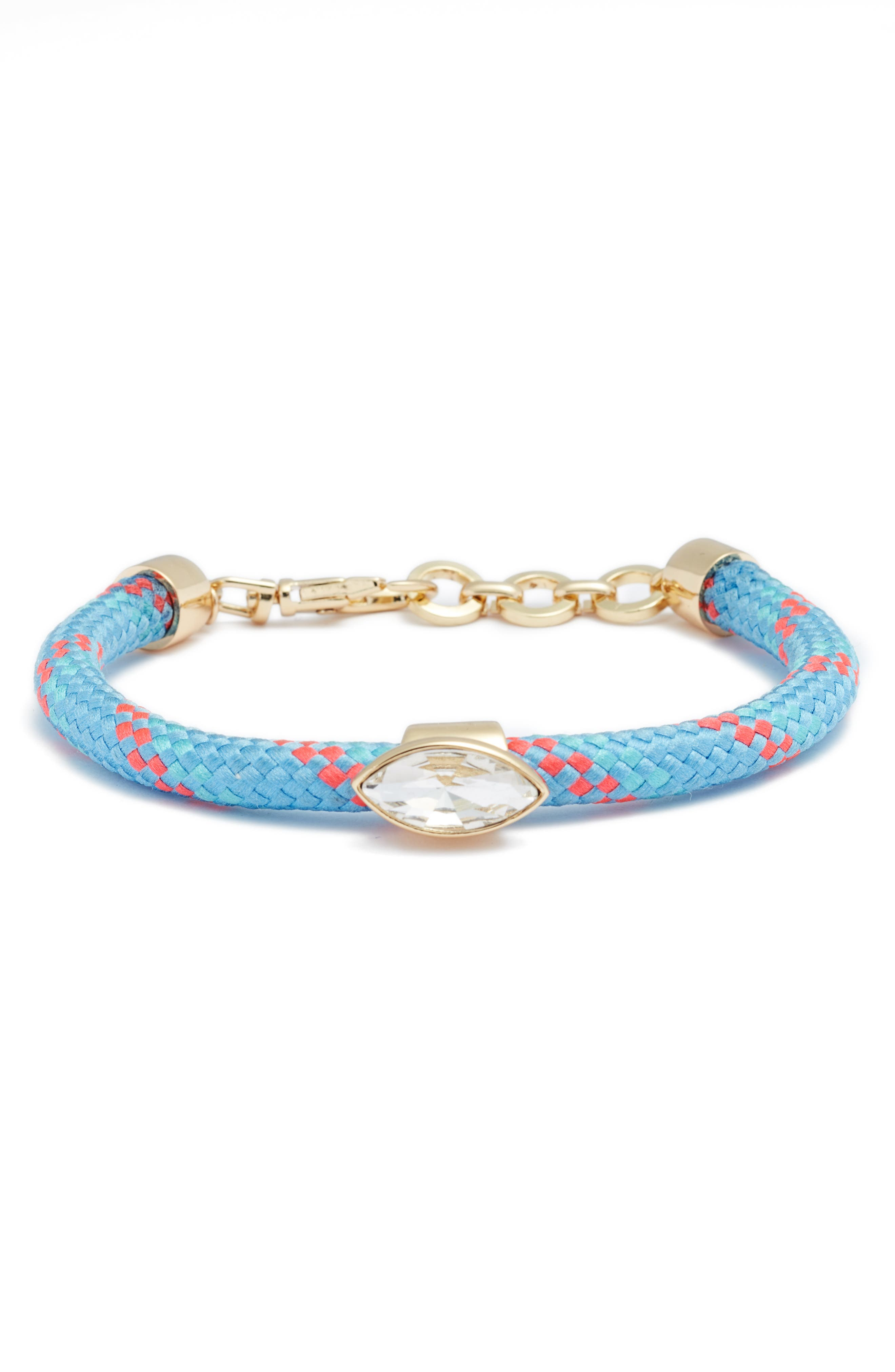 Climbing Rope Bracelet,                         Main,                         color, Turquoise / Gold