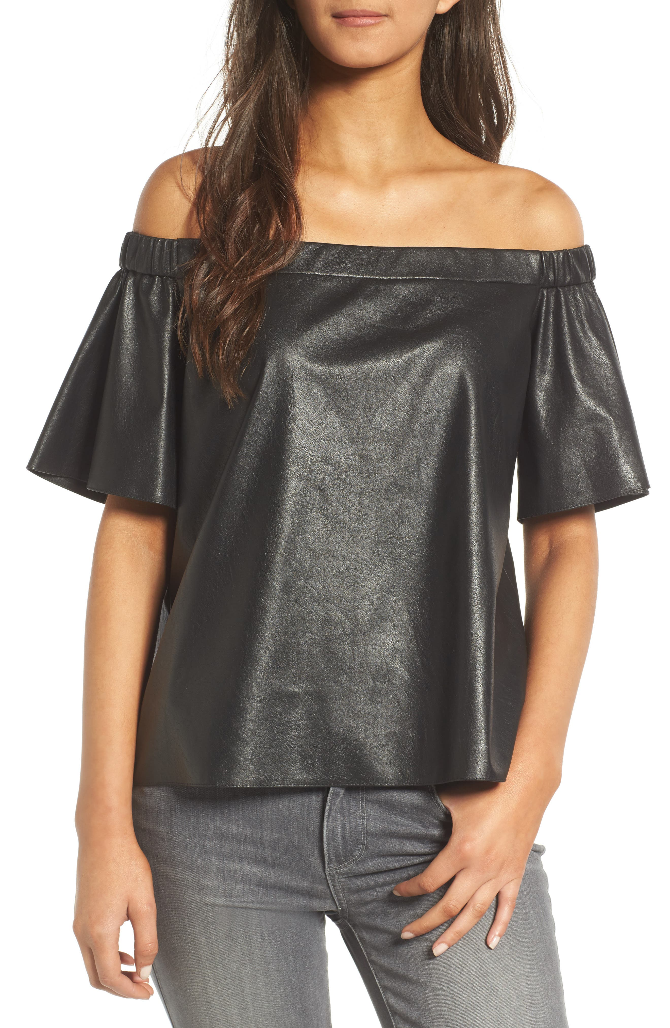 Bailey 44 Off the Shoulder Faux Leather Top