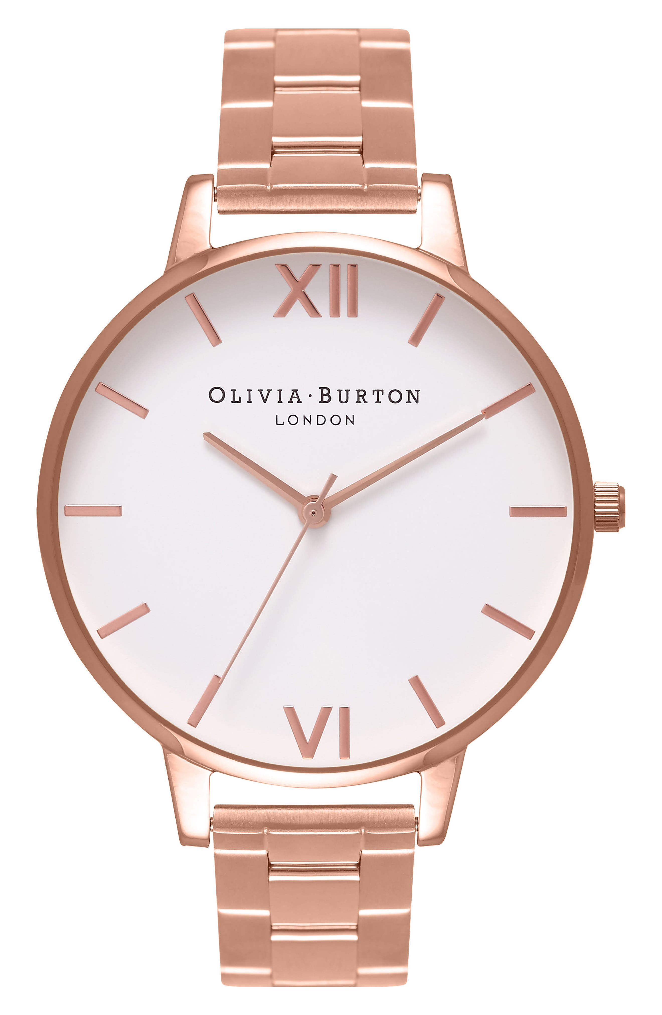 Big Dial Bracelet Watch, 38mm,                             Main thumbnail 1, color,                             Rose Gold/ White/ Rose Gold