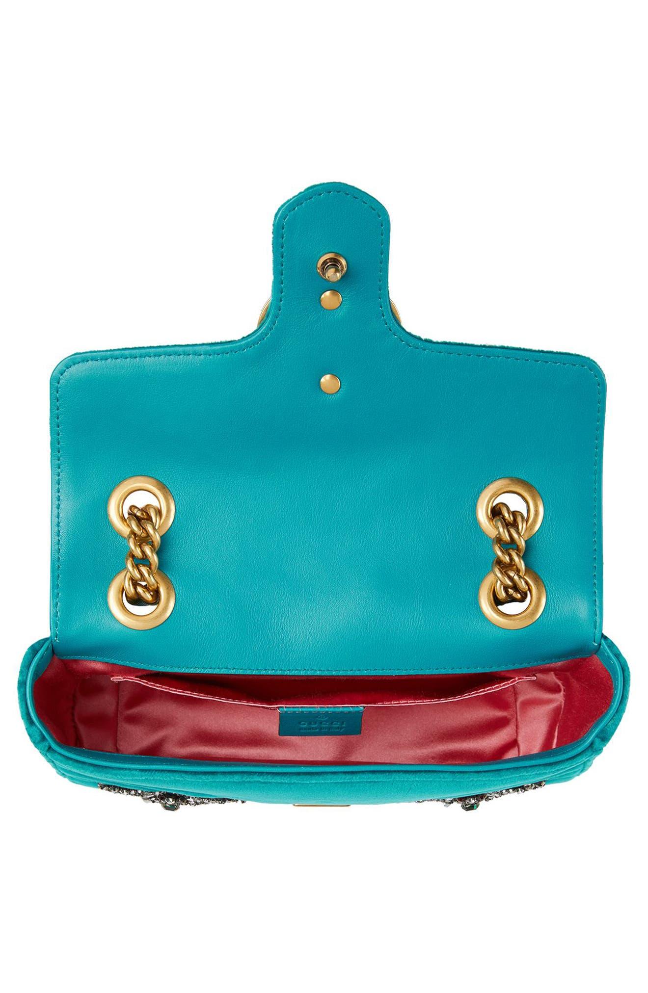 Mini GG Marmont Matelassé Velvet Shoulder Bag,                             Alternate thumbnail 3, color,                             Pivone