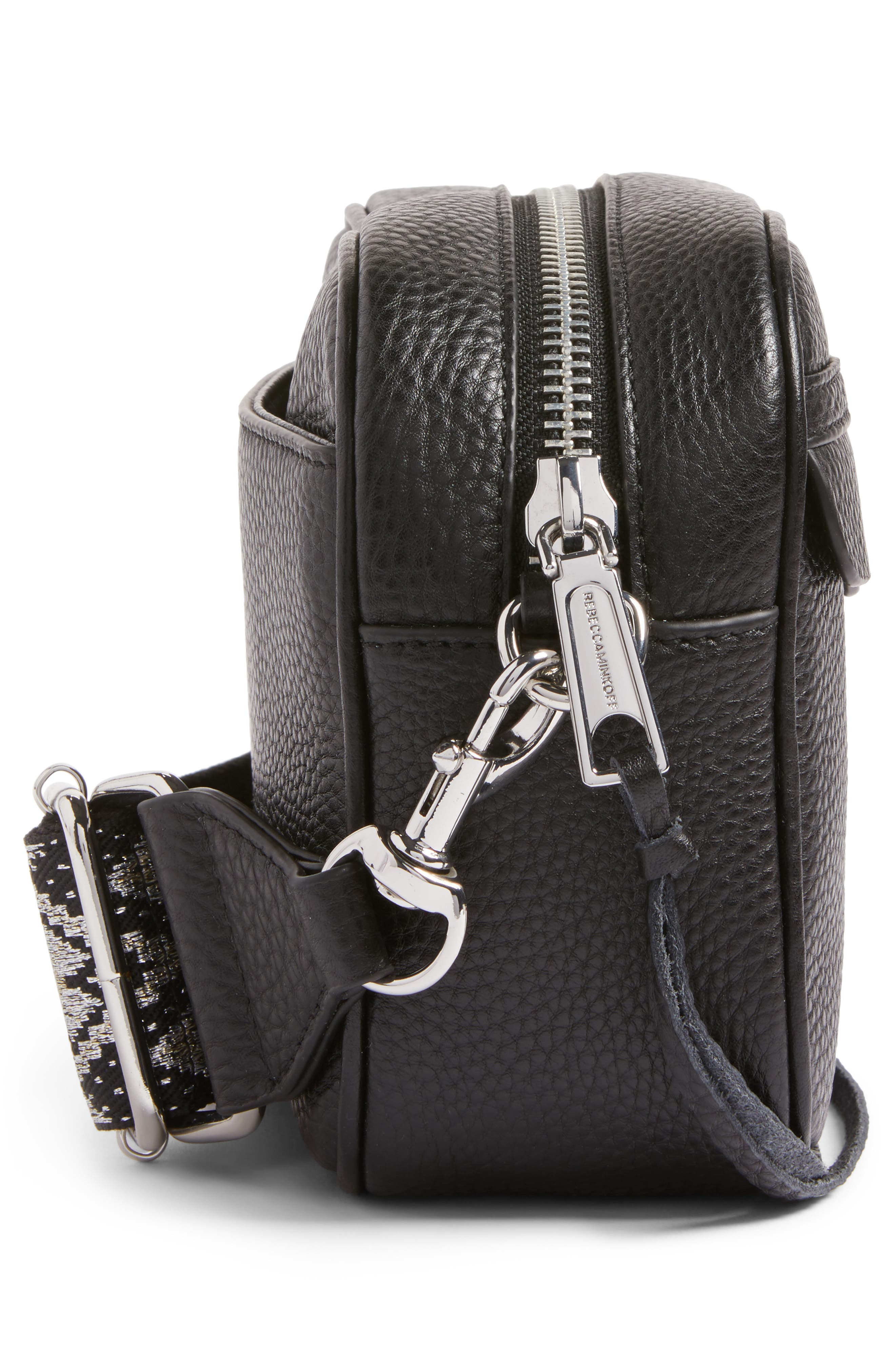 Leather Camera Bag with Guitar Strap,                             Alternate thumbnail 6, color,                             Black/ Silver Hardware