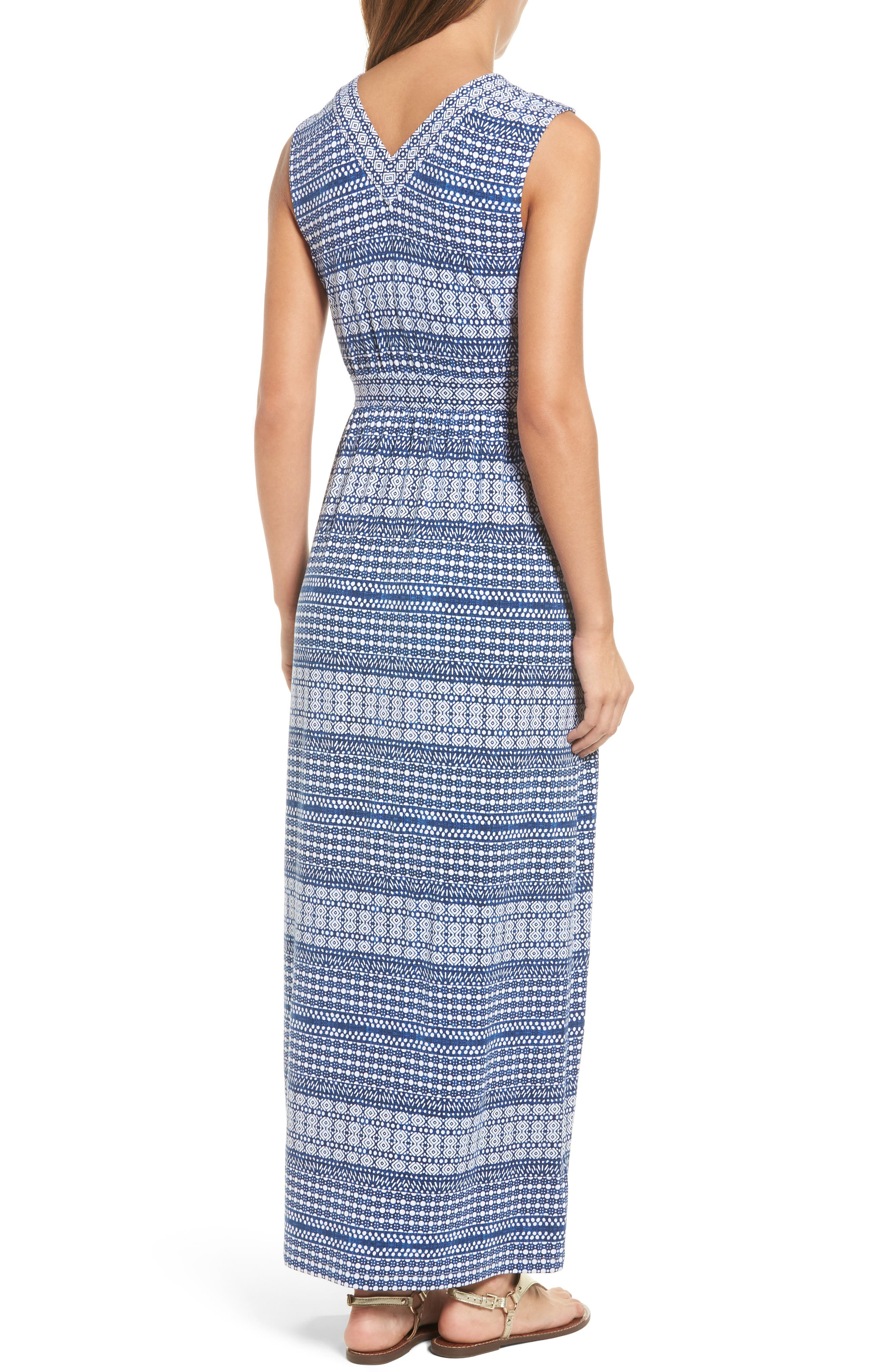 Greek Grid Maxi Dress,                             Alternate thumbnail 2, color,                             Kingdom Blue