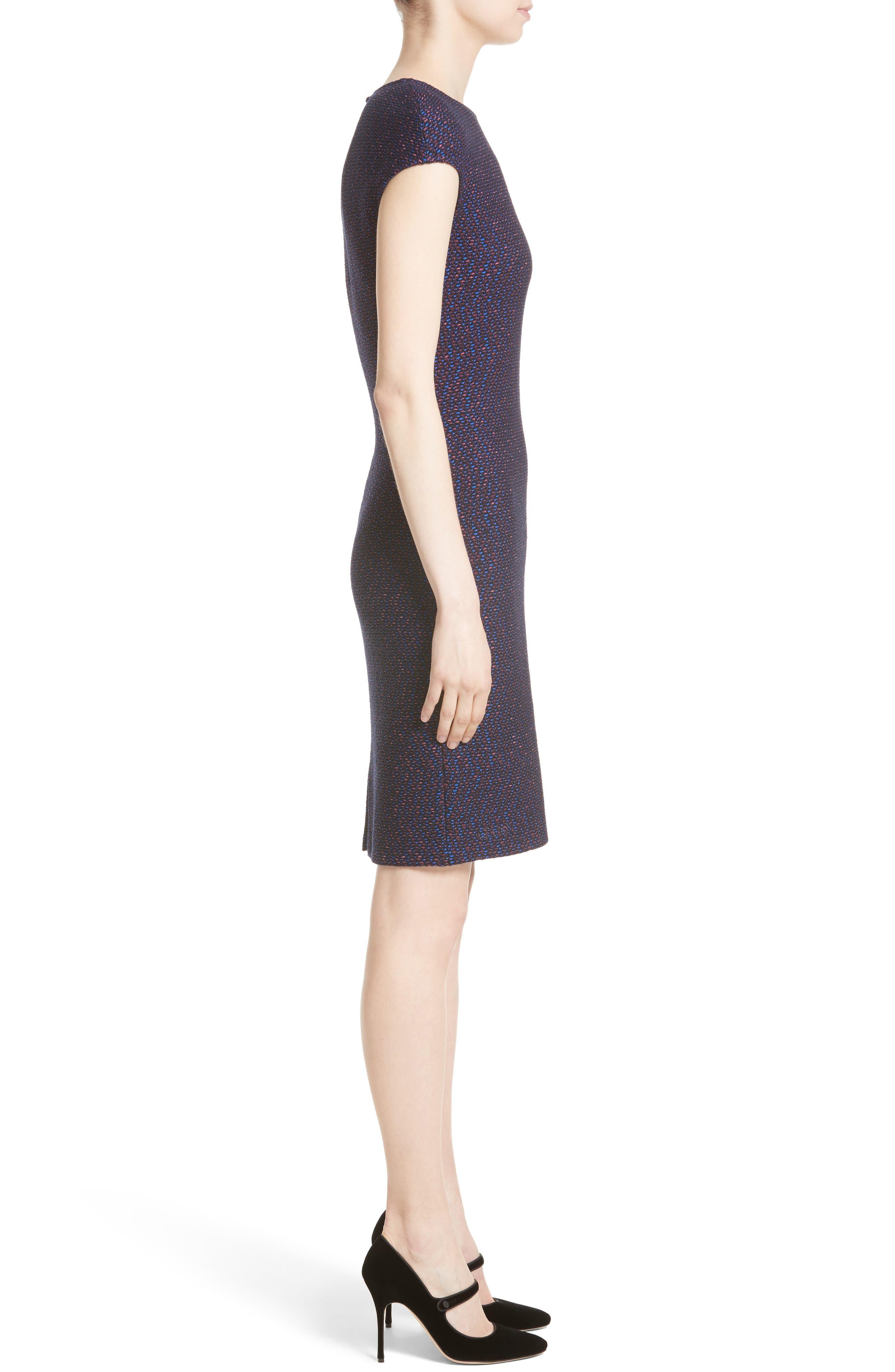 Broken Chevron Knit Sheath Dress,                             Alternate thumbnail 3, color,                             Navy Multi