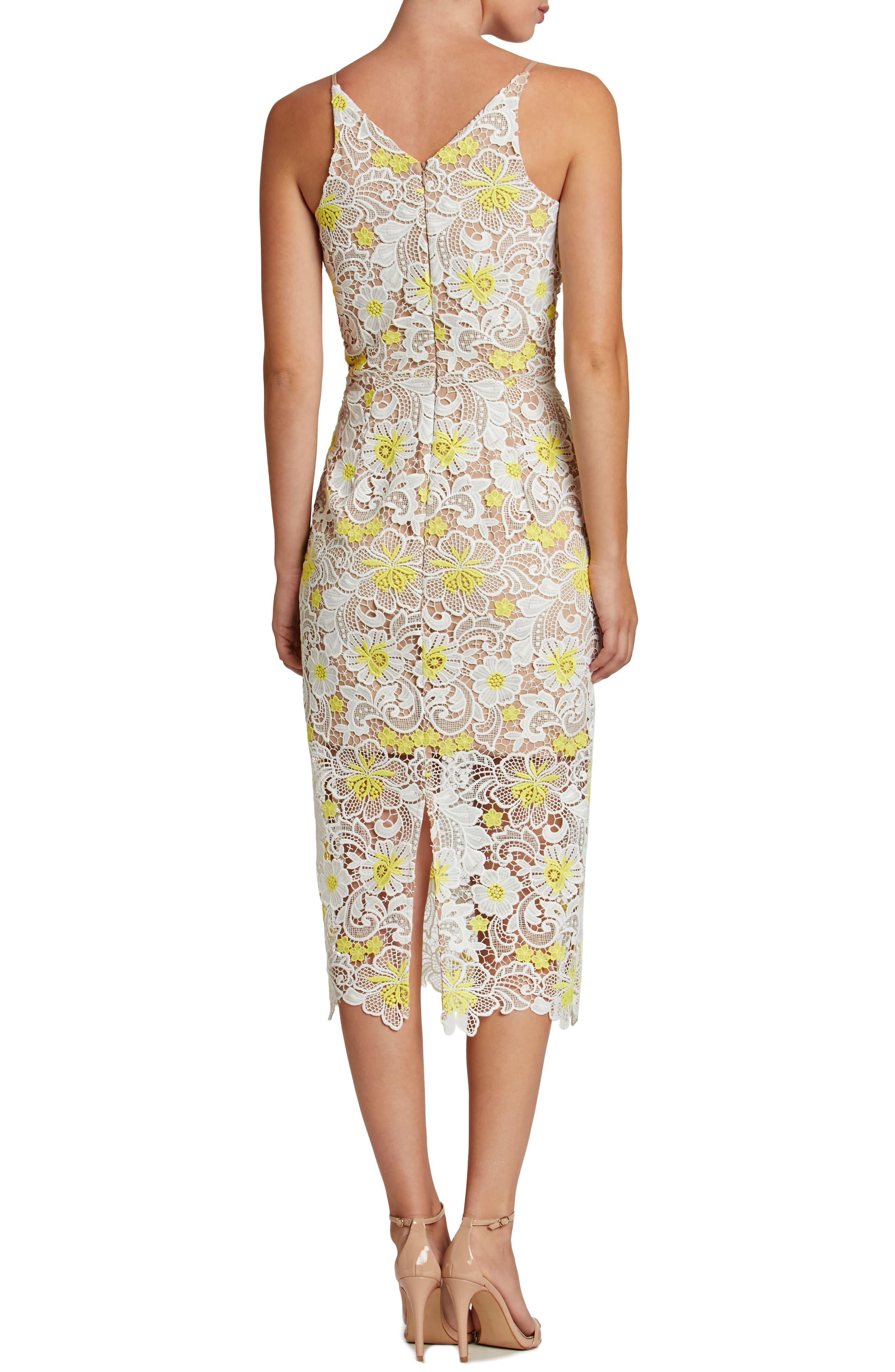 Aurora Floral Midi Dress,                             Alternate thumbnail 2, color,                             White/ Yellow Floral