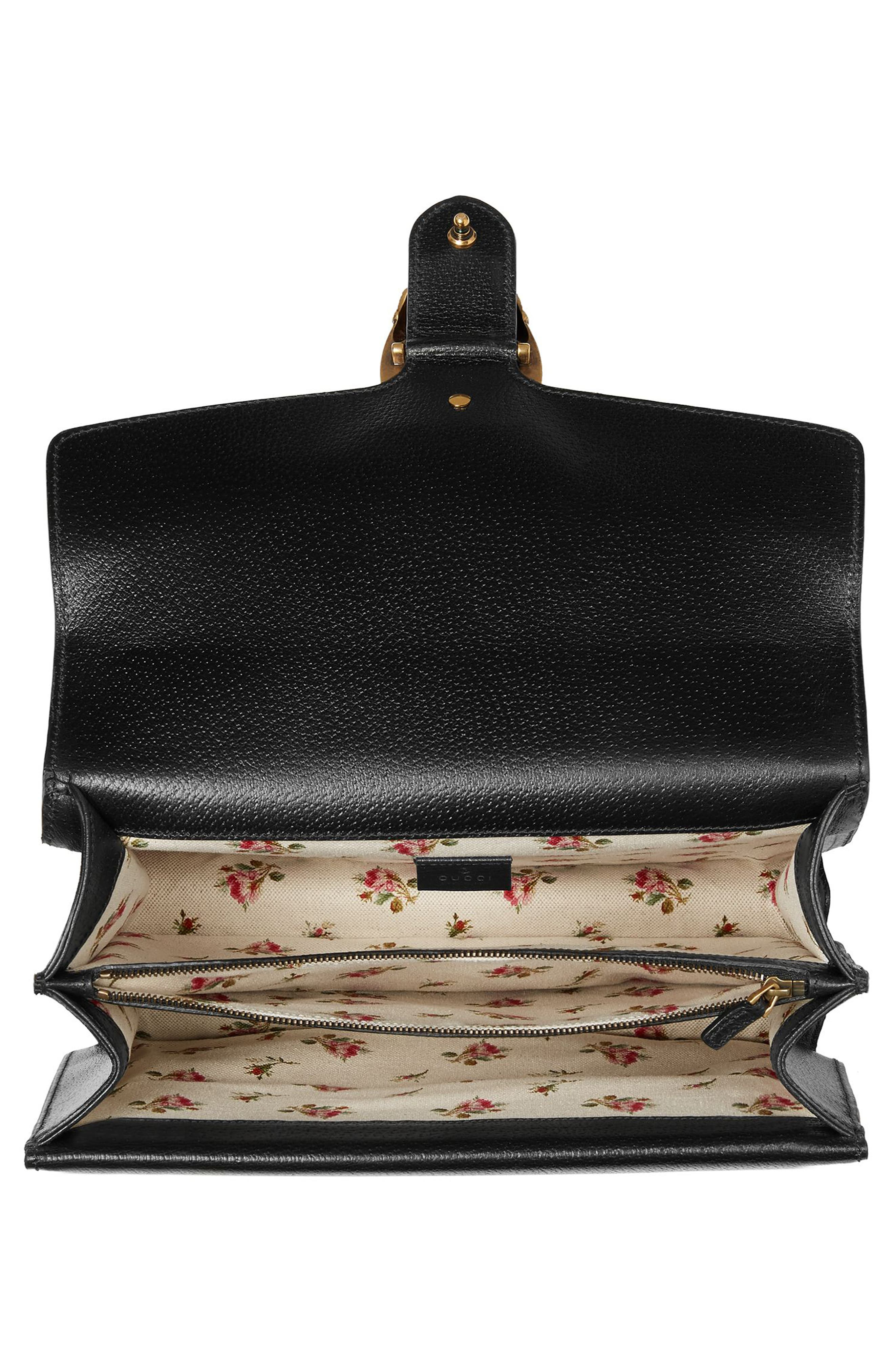 Medium Dionysus Embroidered Roses Leather Shoulder Bag,                             Alternate thumbnail 3, color,                             Nero/Multi