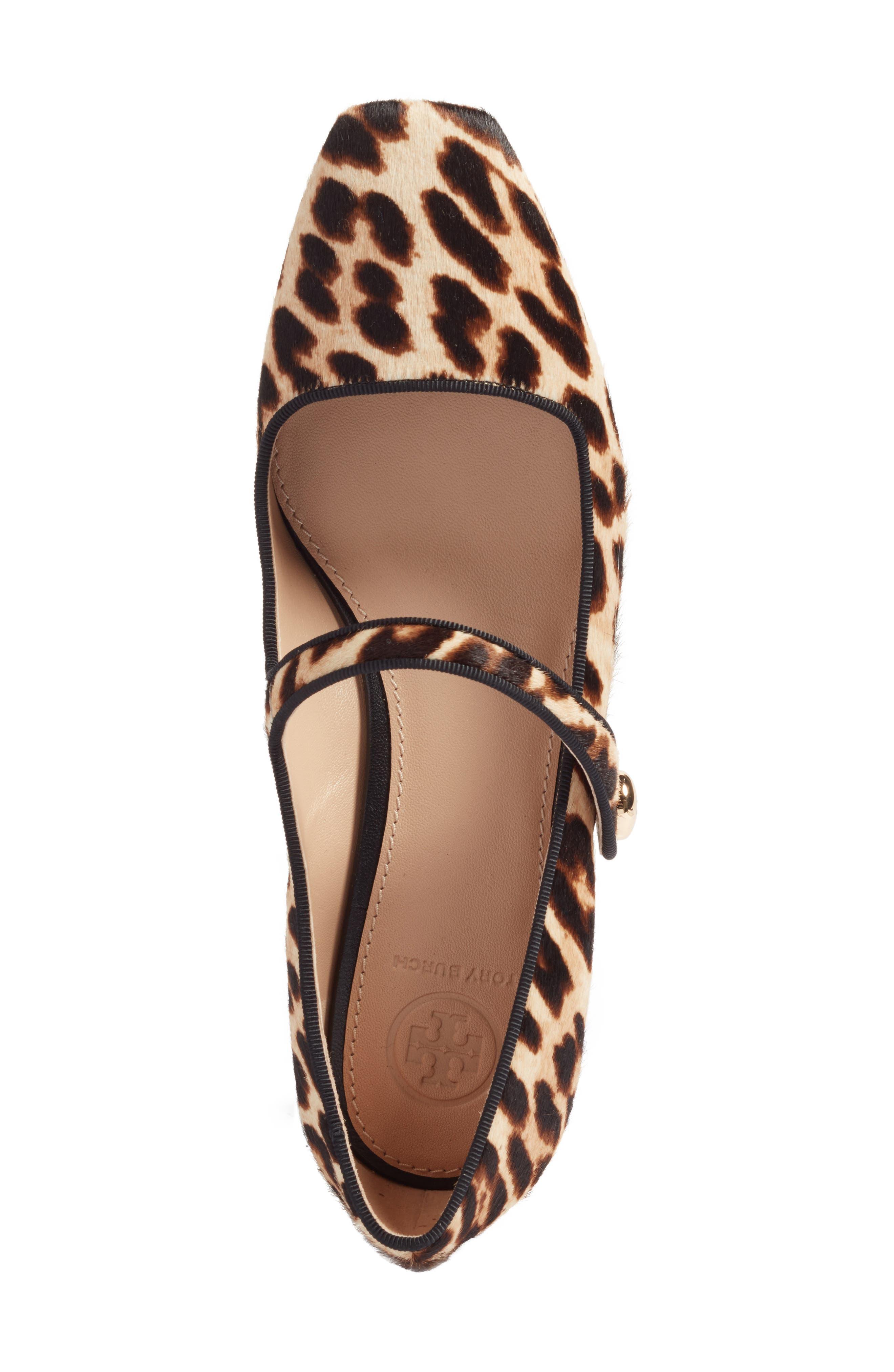 Marisa Genuine Calf Hair Mary Jane Pump,                             Alternate thumbnail 4, color,                             Natural Leopard/ Black