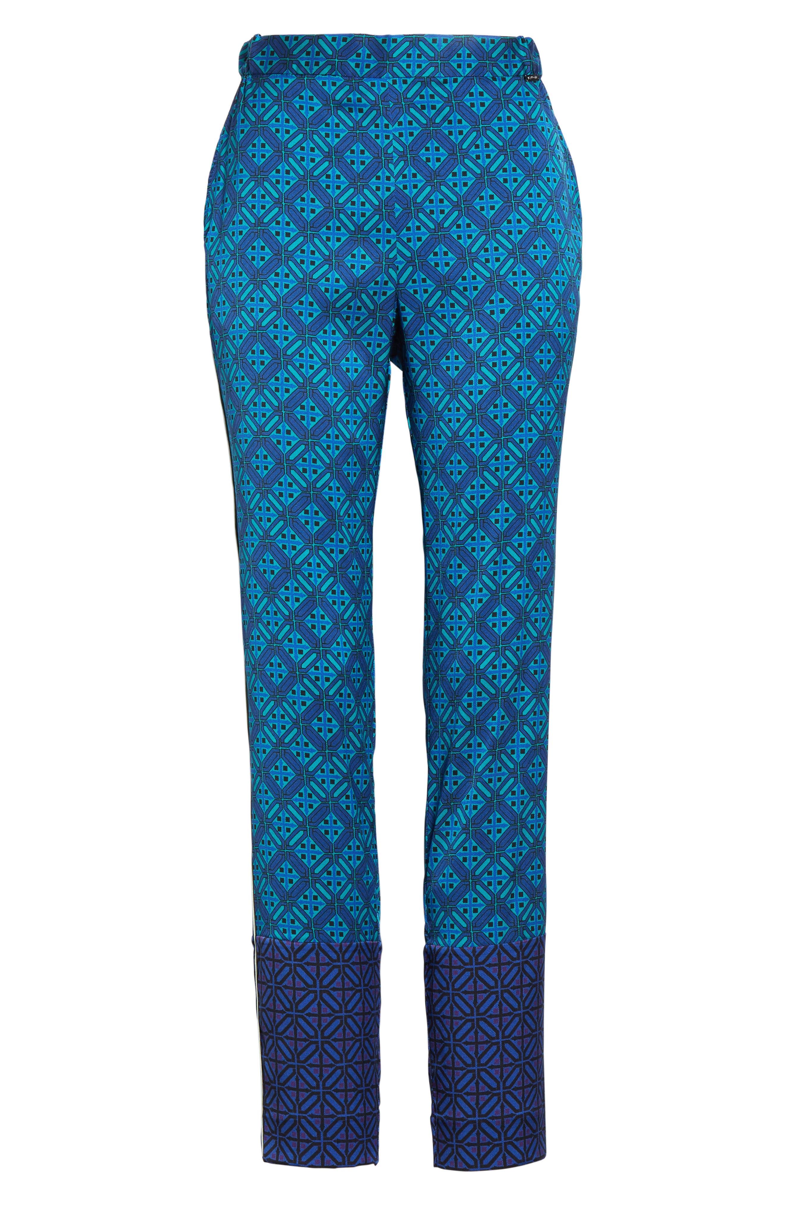 Ratan Print Stretch Silk Twill Pants,                             Alternate thumbnail 7, color,                             Azurite Multi