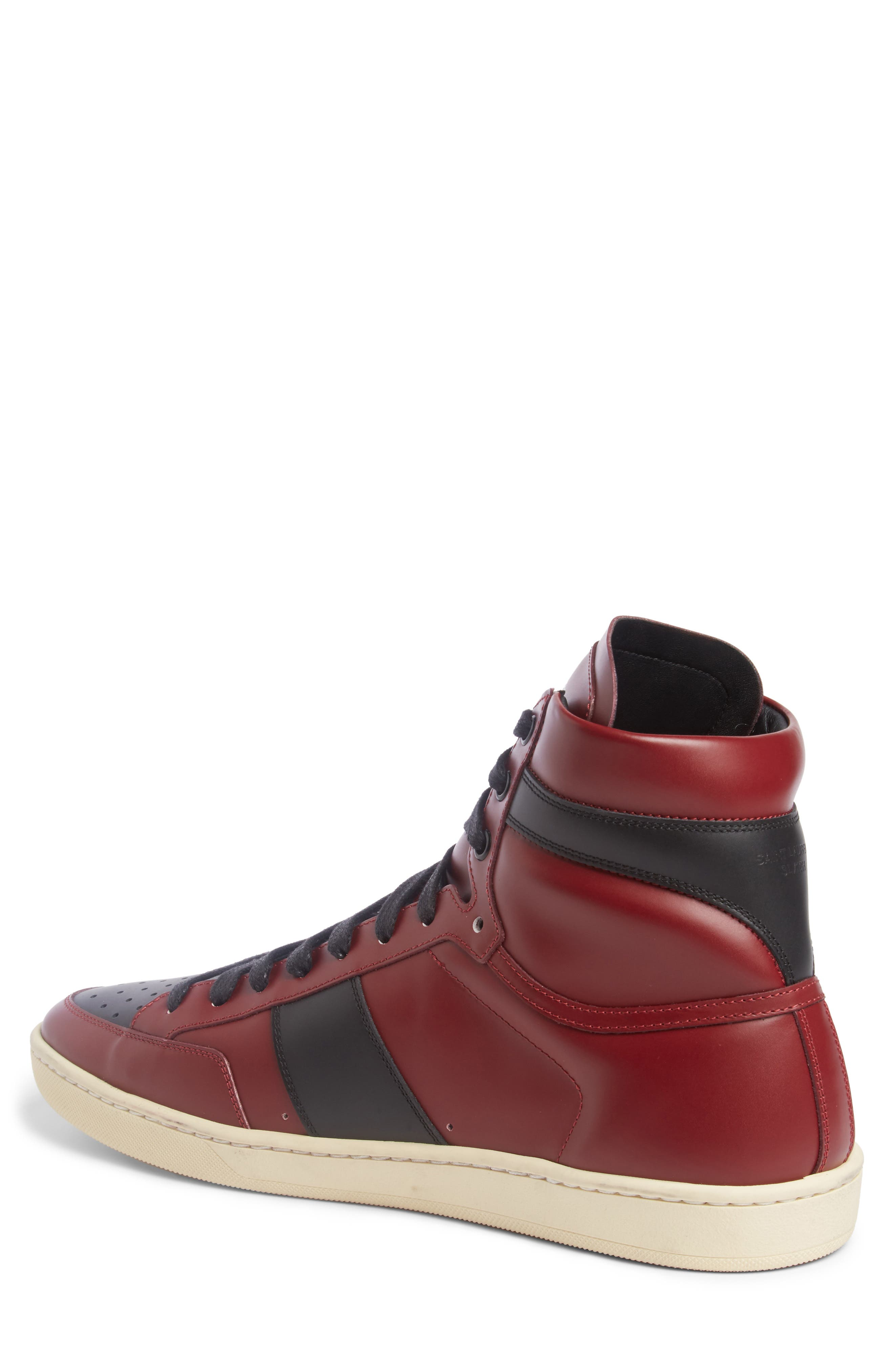 SL/10H Signature Court Classic High-Top Sneaker,                             Alternate thumbnail 2, color,                             Dp Red/ Blk Leather
