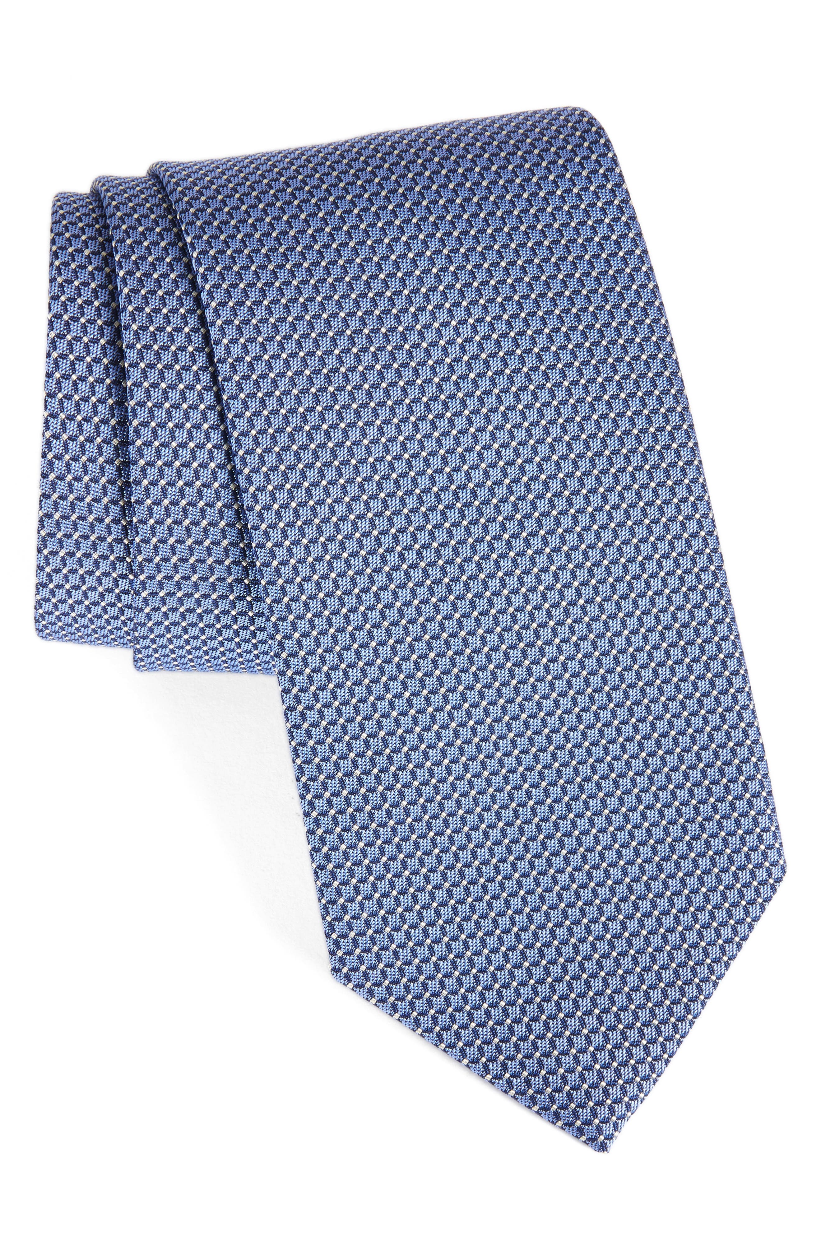 DAVID DONAHUE Grid Silk & Cotton Tie
