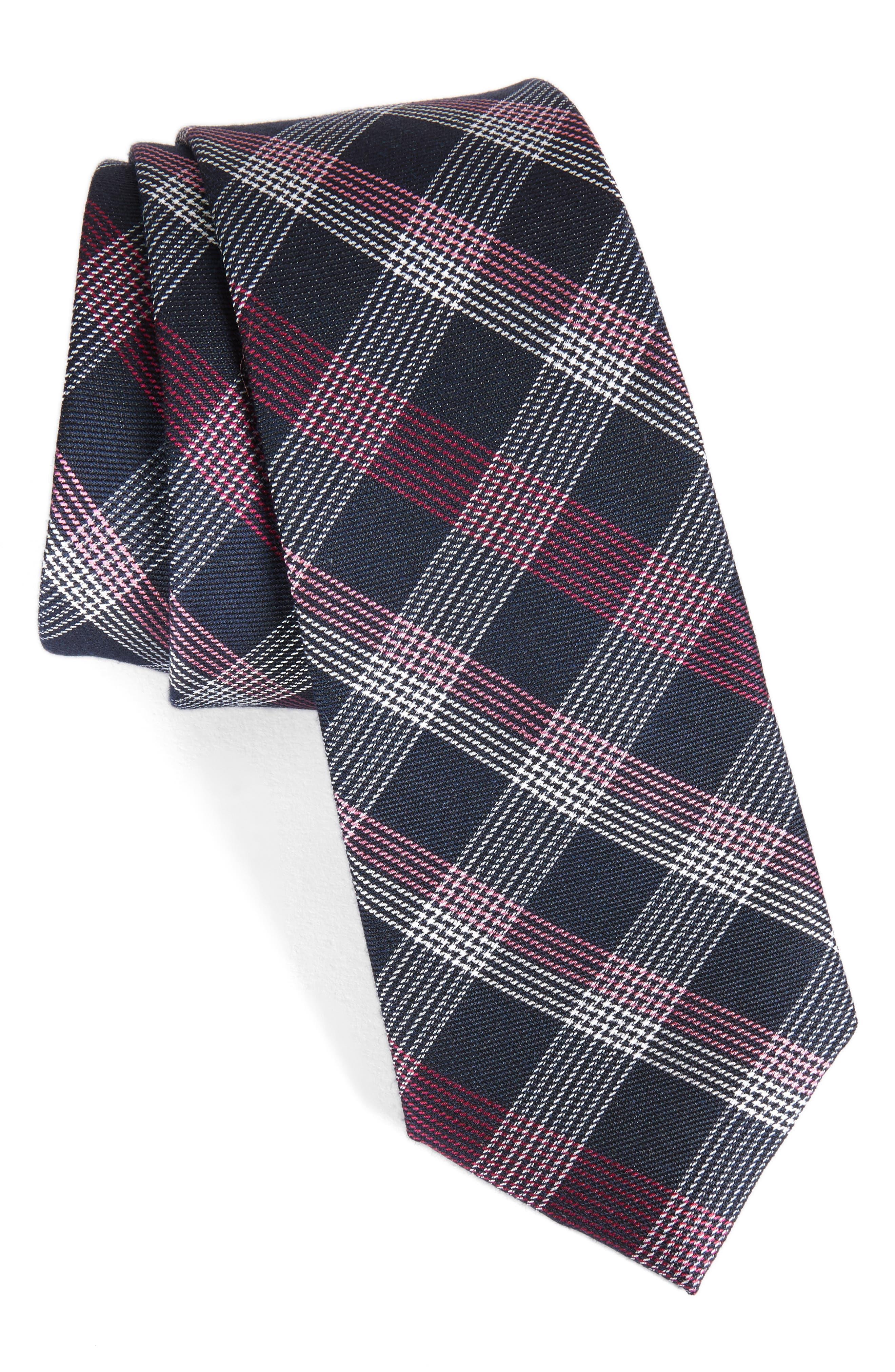 Main Image - Calibrate Indigo Plaid Silk Tie