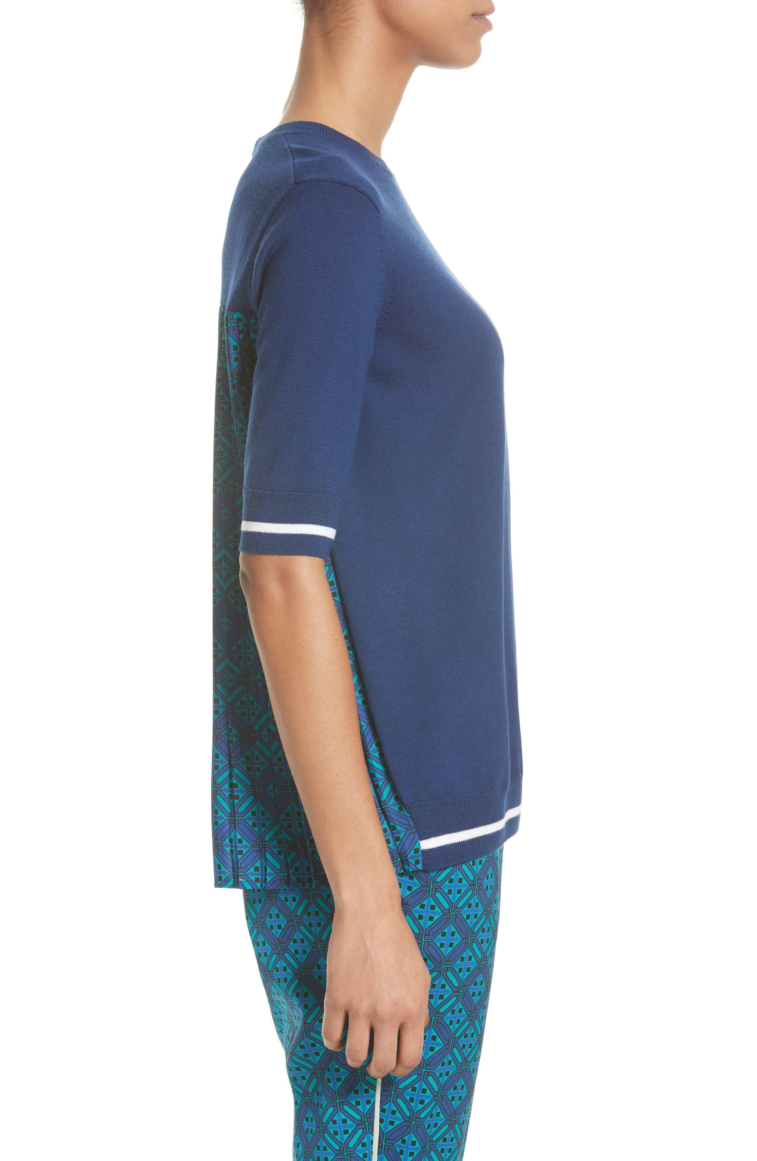 Sarita Tile Print Jersey Knit Sweater,                             Alternate thumbnail 4, color,                             Azurite Multi