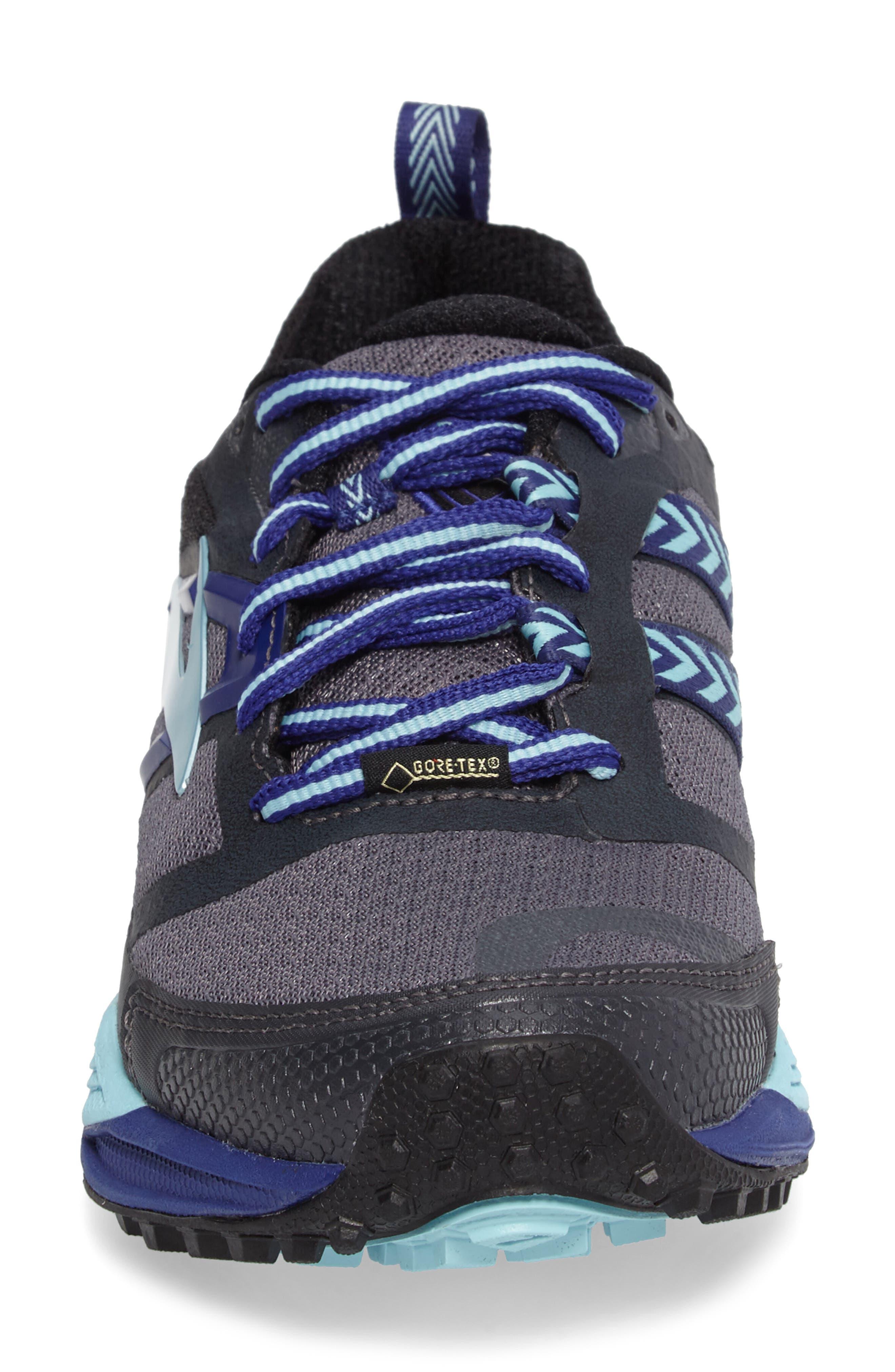 Cascadia 12 GTX Trail Running Shoe,                             Alternate thumbnail 4, color,                             Black/ Ebony/ Clematis Blue
