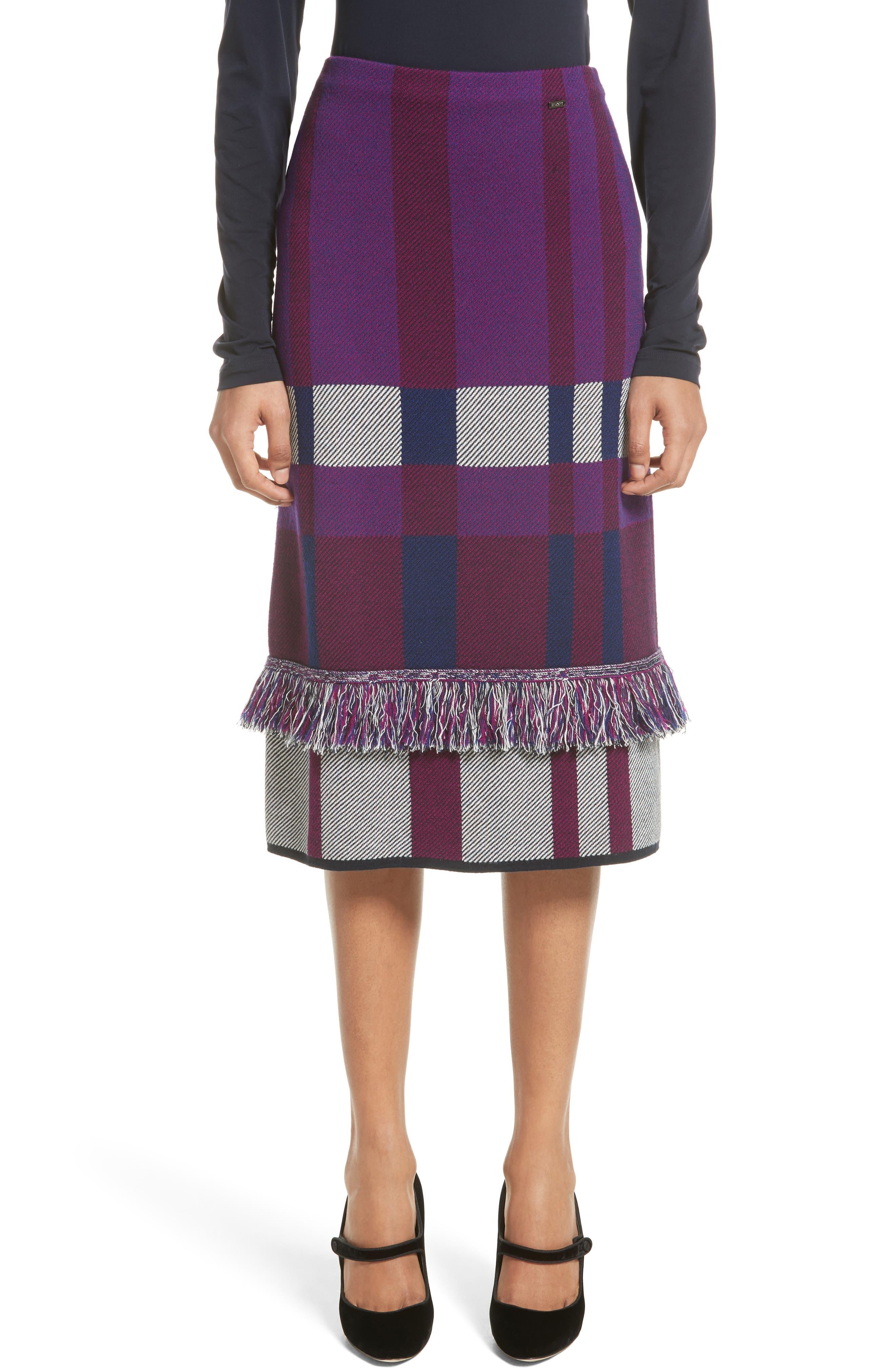 St. John Collection Plaid Jacquard Knit Skirt
