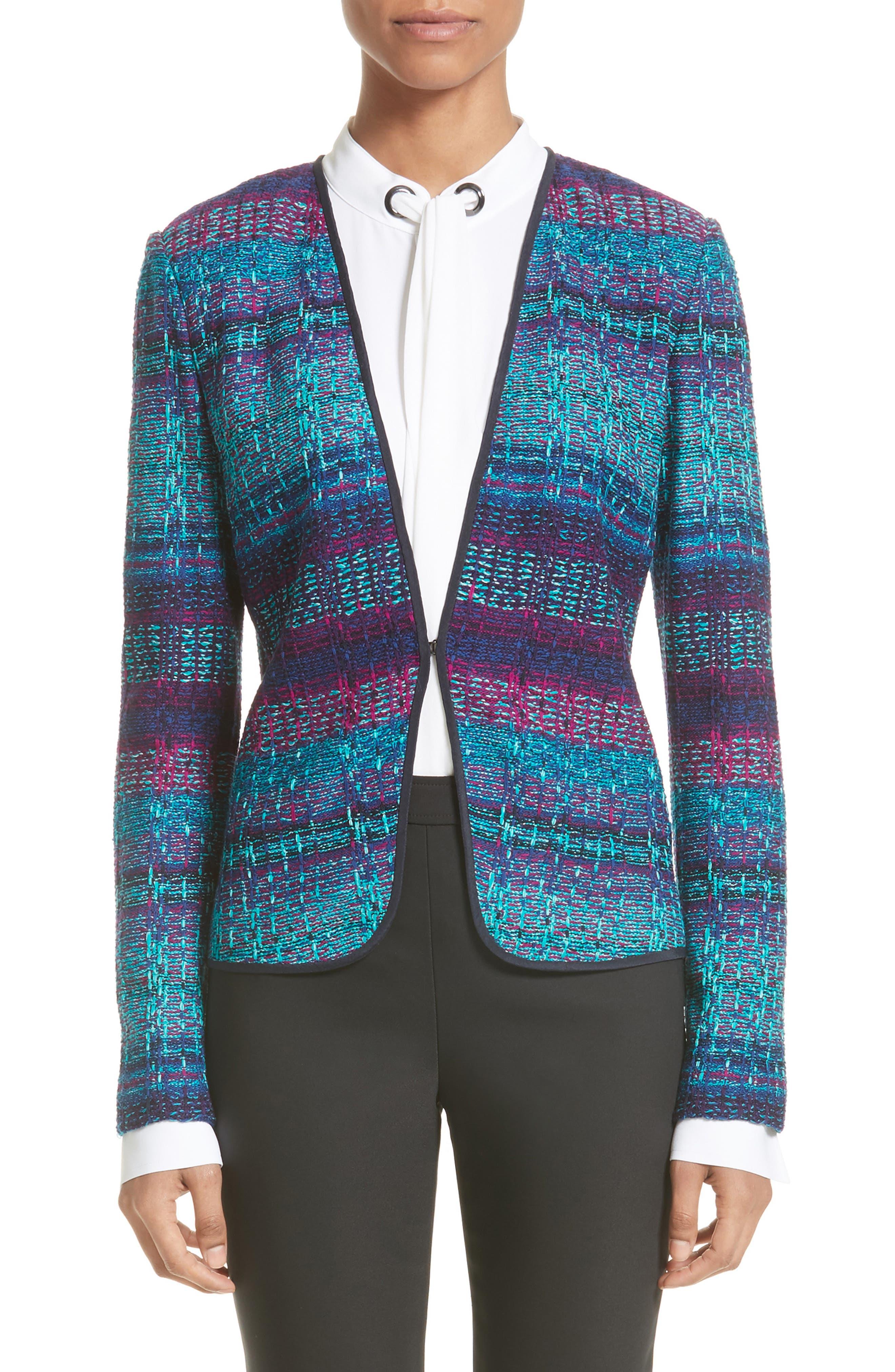 Ellah Knit Jacket,                             Main thumbnail 1, color,                             Navy Multi