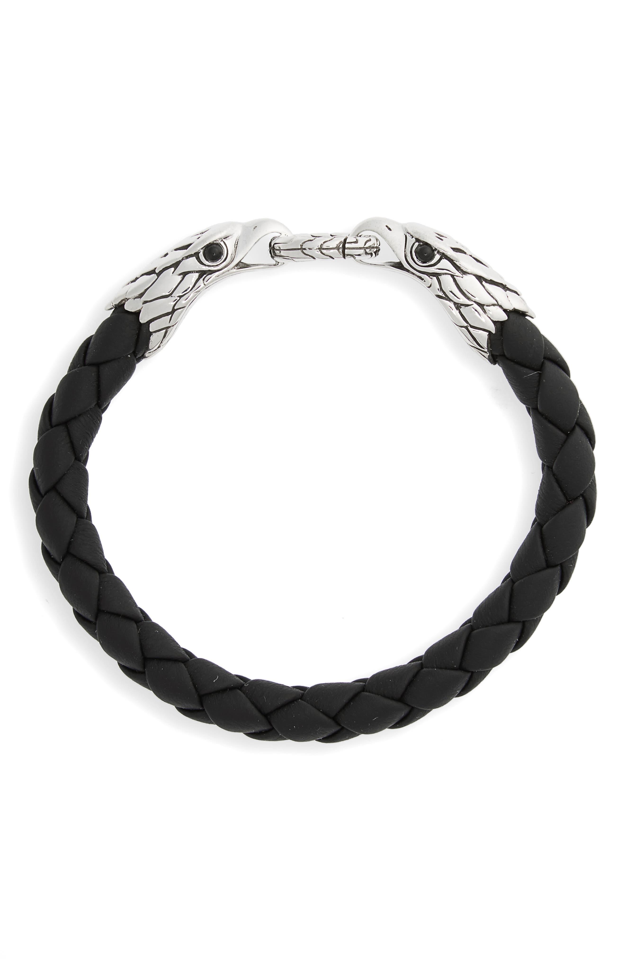 Legends Eagle Double Head Bracelet,                             Main thumbnail 1, color,                             Silver/ Black