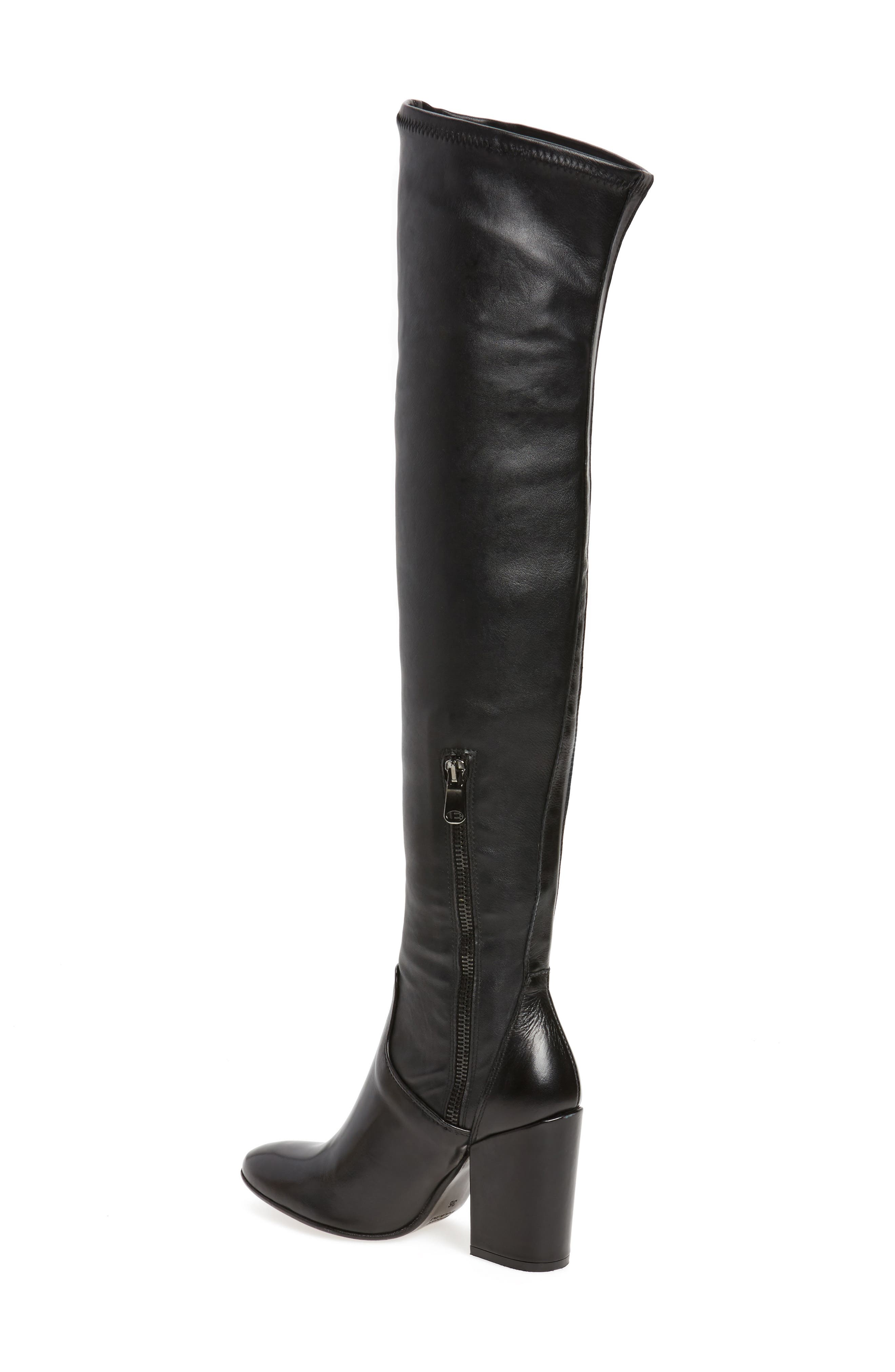 Clarice Over the Knee Boot,                             Alternate thumbnail 2, color,                             Black Leather