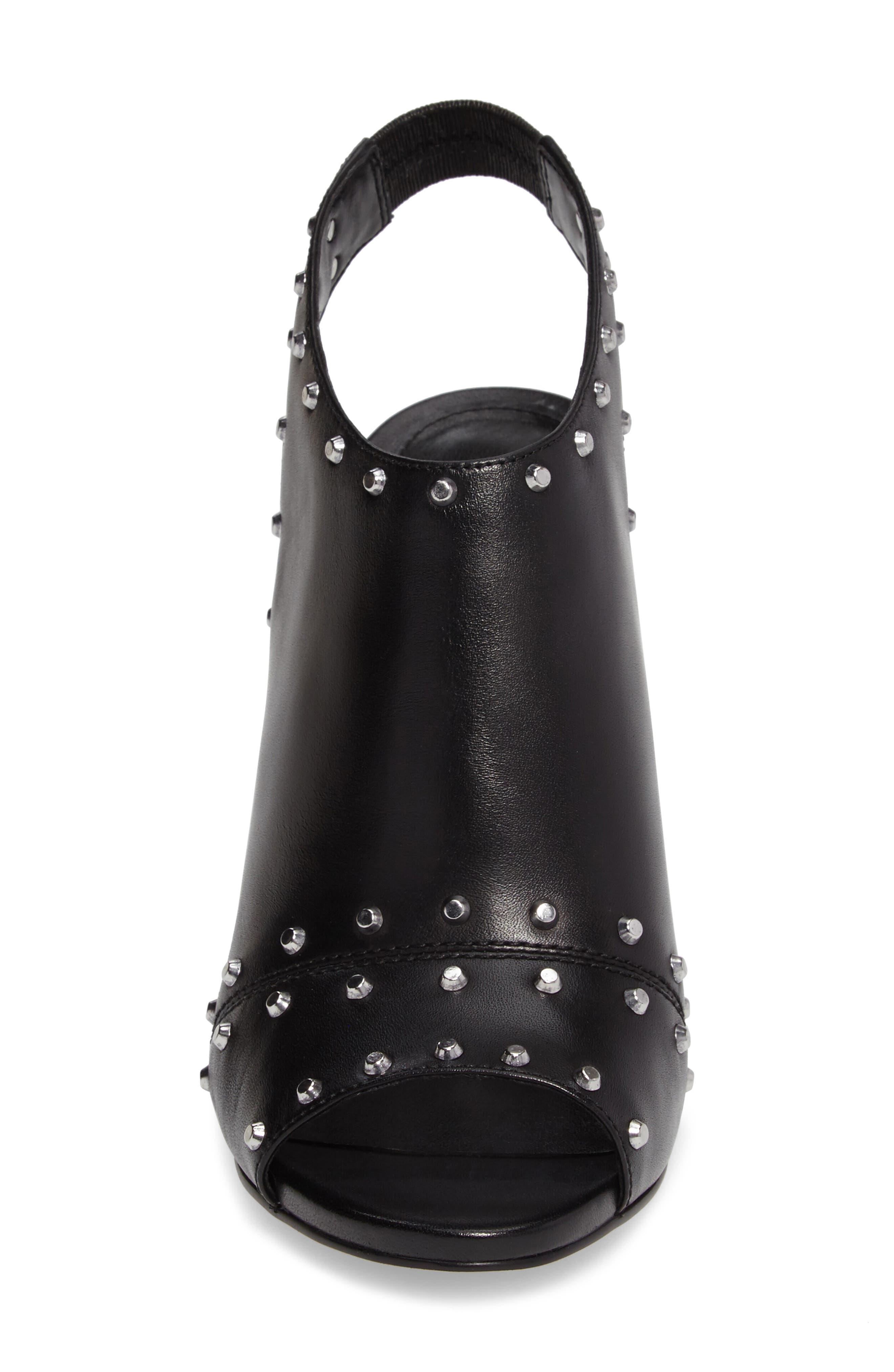 Astor Studded Sandal,                             Alternate thumbnail 4, color,                             Black Leather