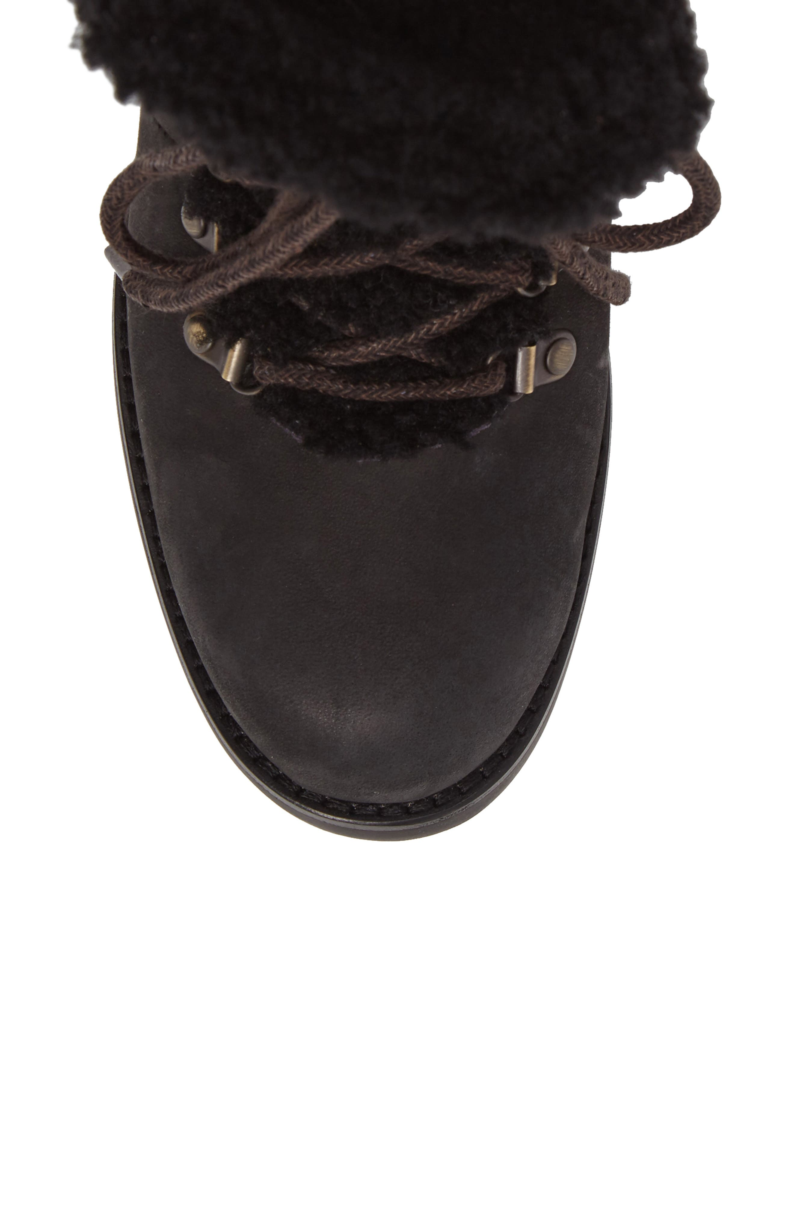 Fraser Genuine Shearling Water Resistant Boot,                             Alternate thumbnail 5, color,                             Black Leather