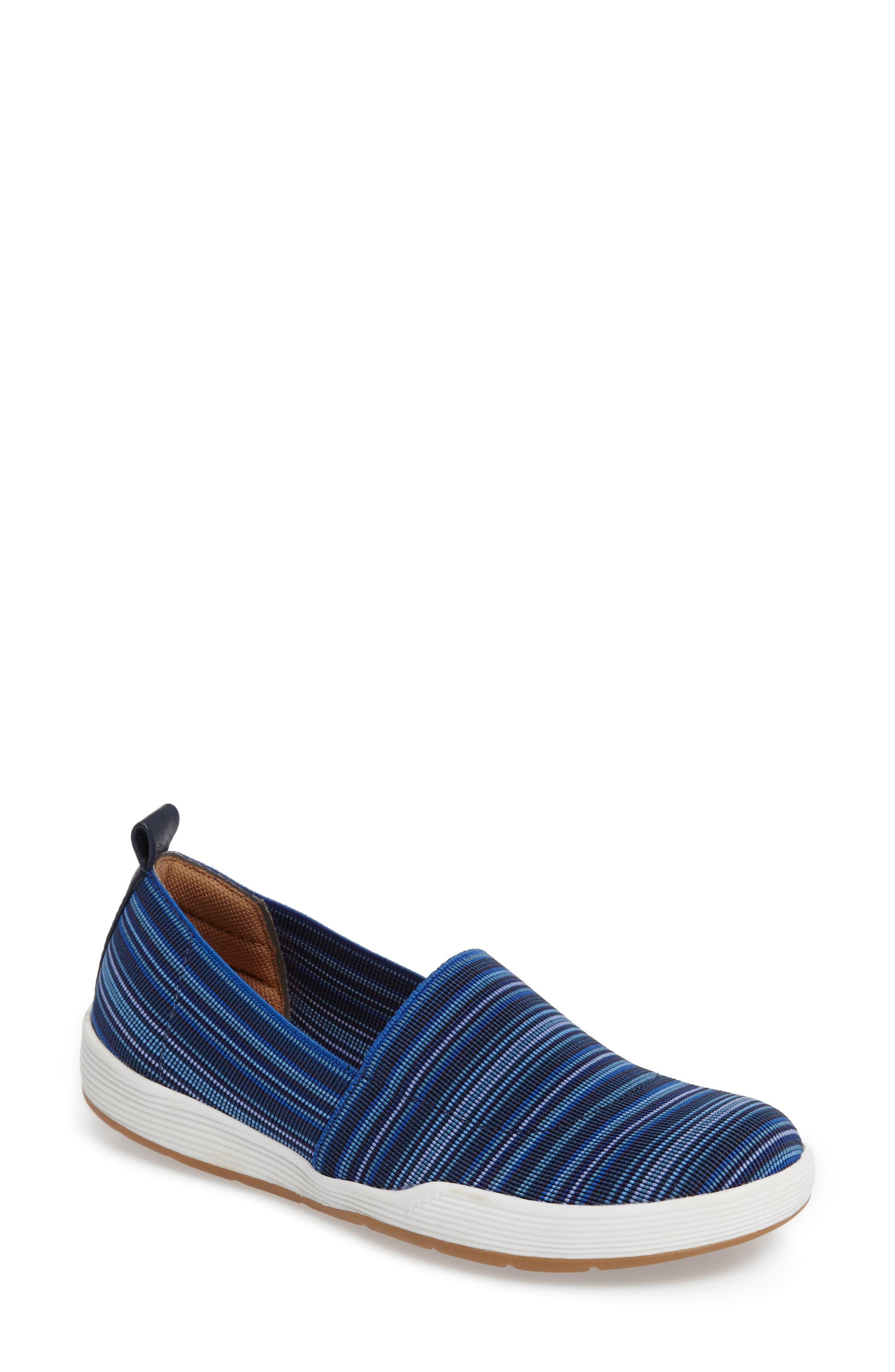 Lida Slip-On Flat,                             Main thumbnail 1, color,                             Blue Fabric